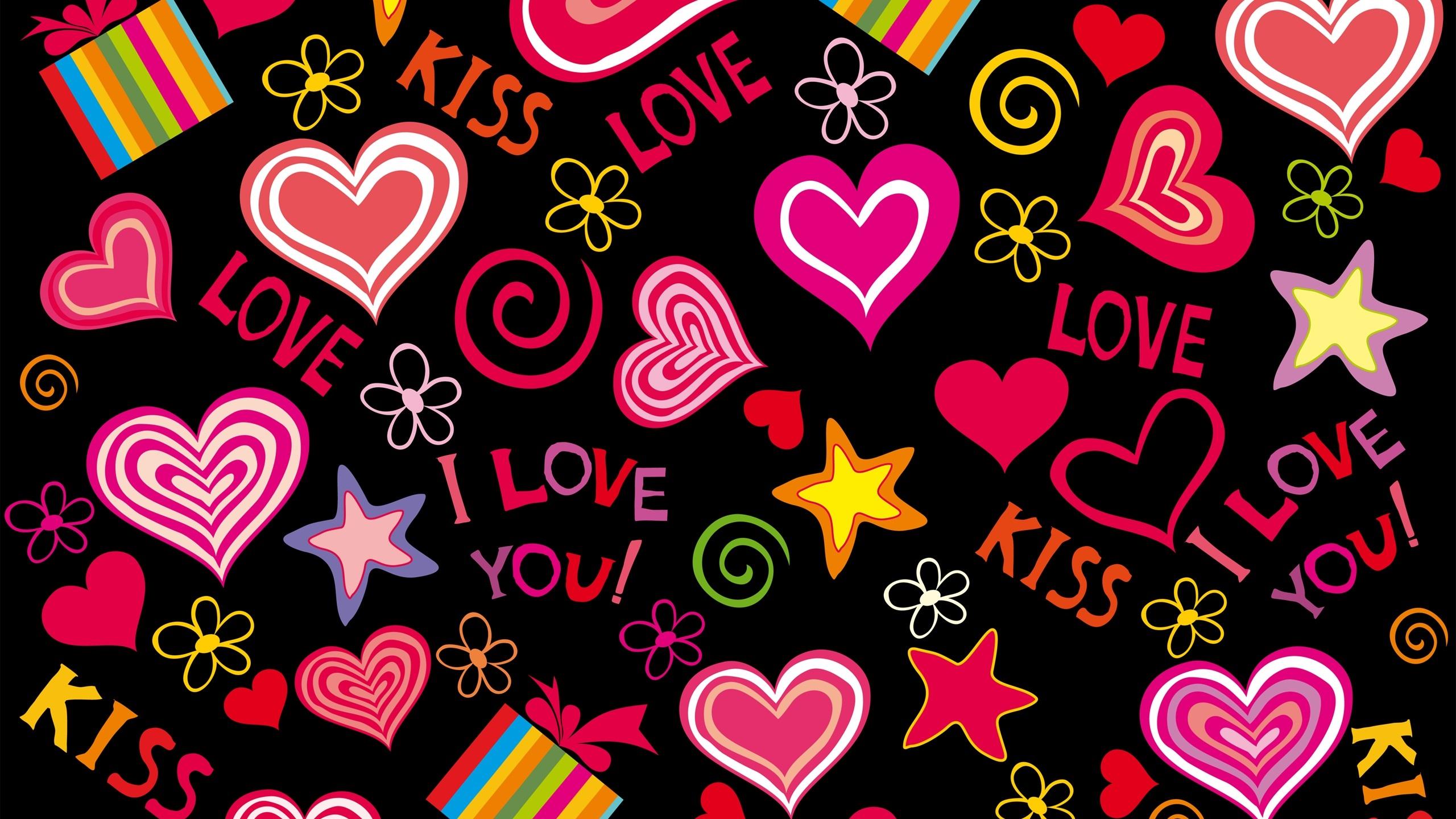 Coeurs d 39 amour vecteur romantique la saint valentin for Fond ecran qhd