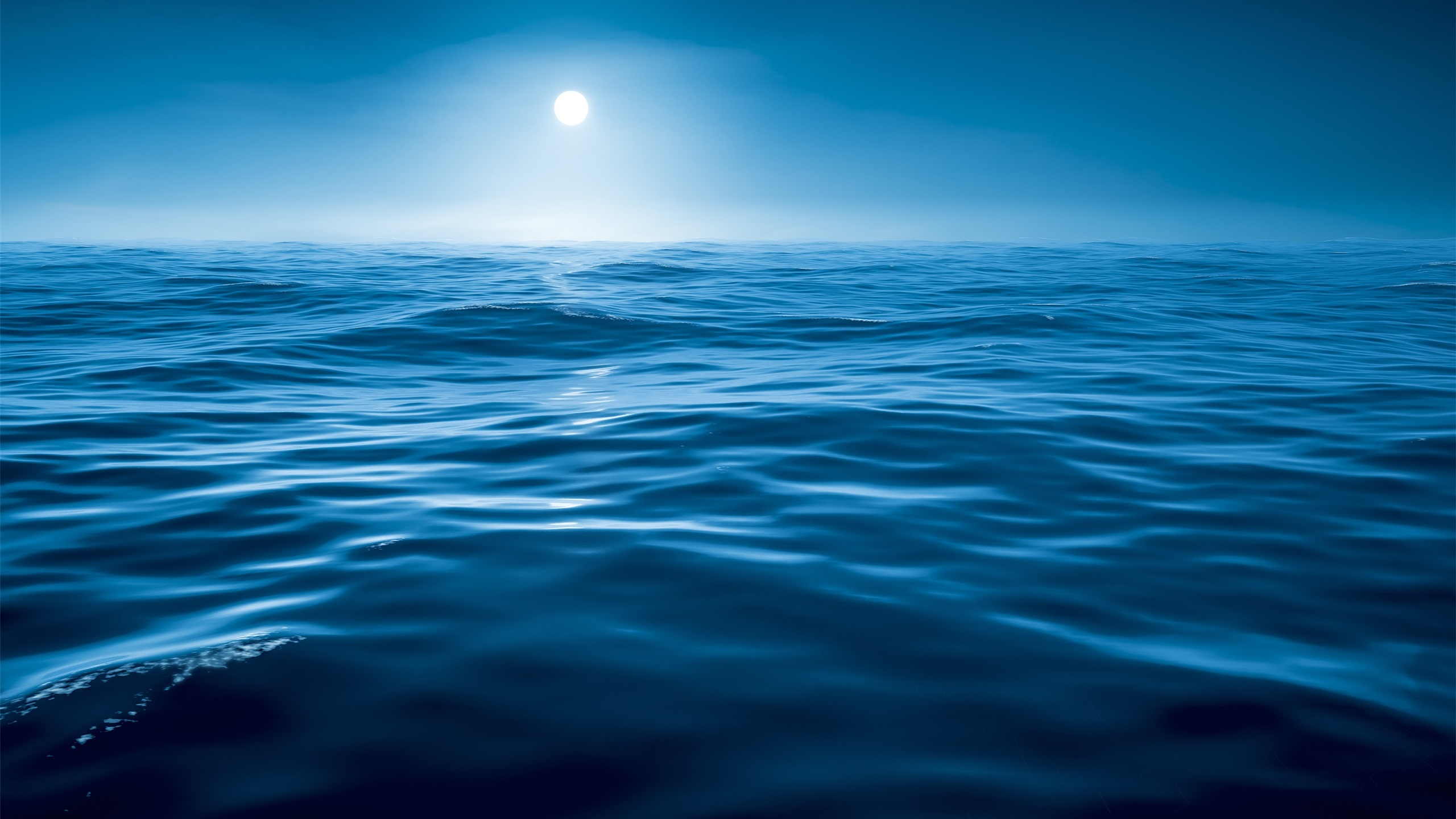 Download Wallpaper 2560x1440 Night, Water, Sea, Blue, Moon