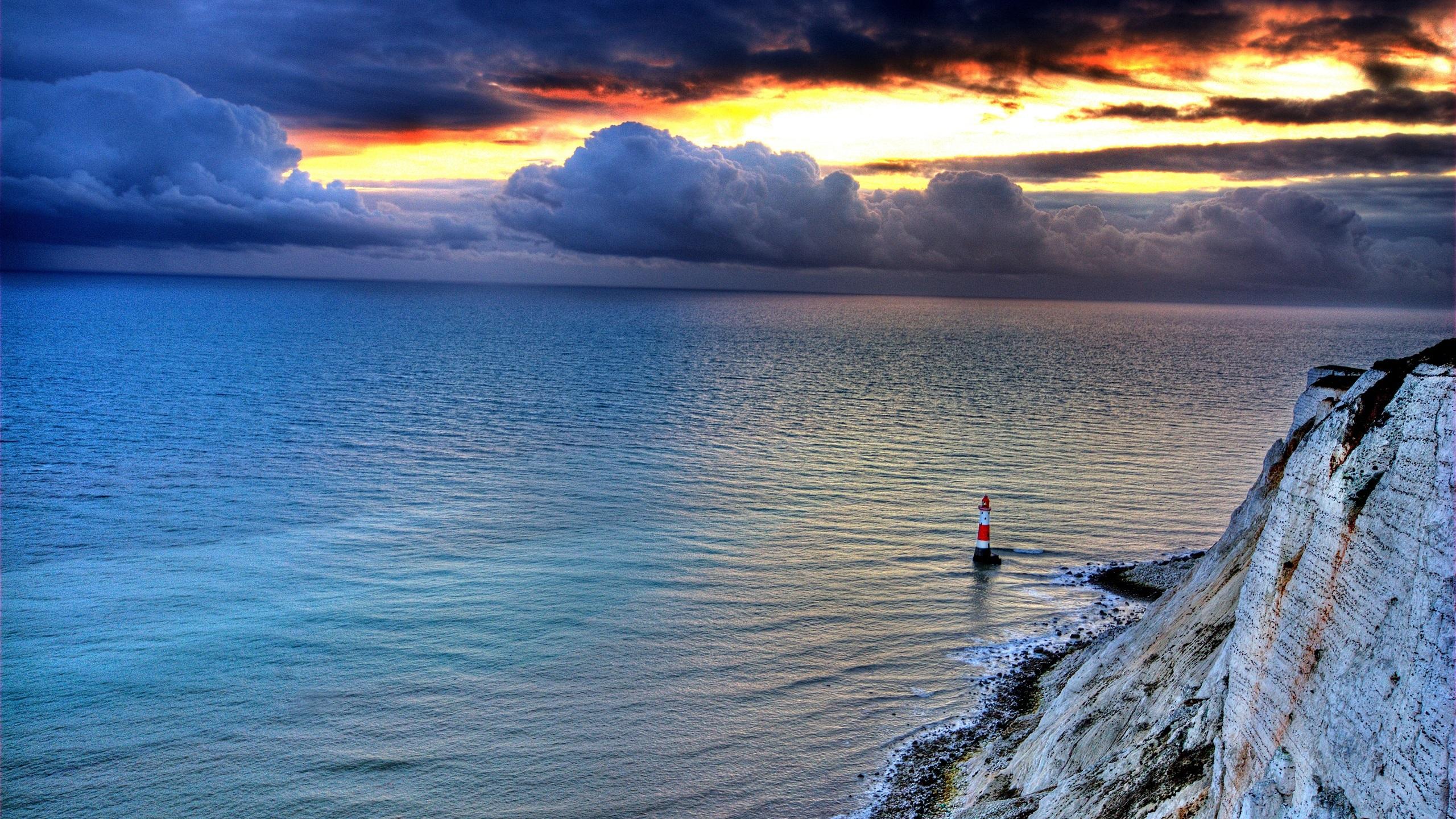, rock, Leuchtturm, Himmel, Wolken, Sonnenuntergang, Abenddämmerung