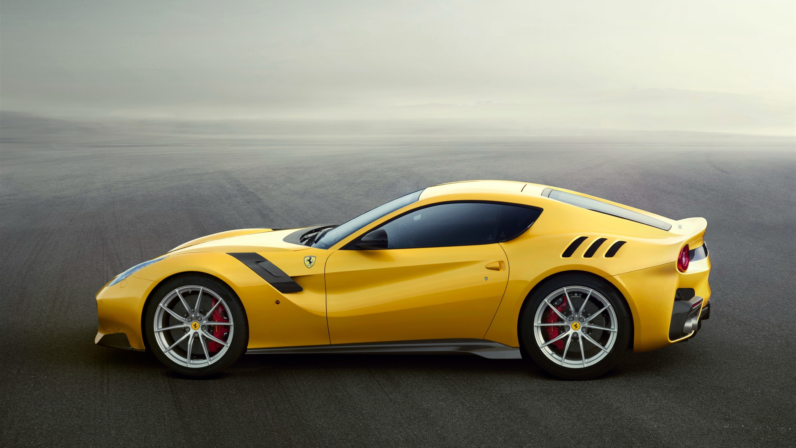 Wallpaper Ferrari F12 Yellow Supercar Side View 2560x1440 Qhd Picture Image