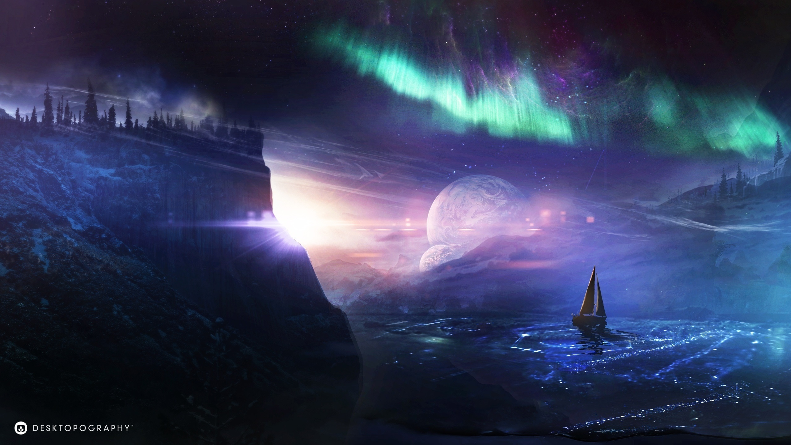 Desktopography Creative Pictures Planet Ship Northern Lights Water_2560x1440 on Planet Wallpaper Hd 1280x1024