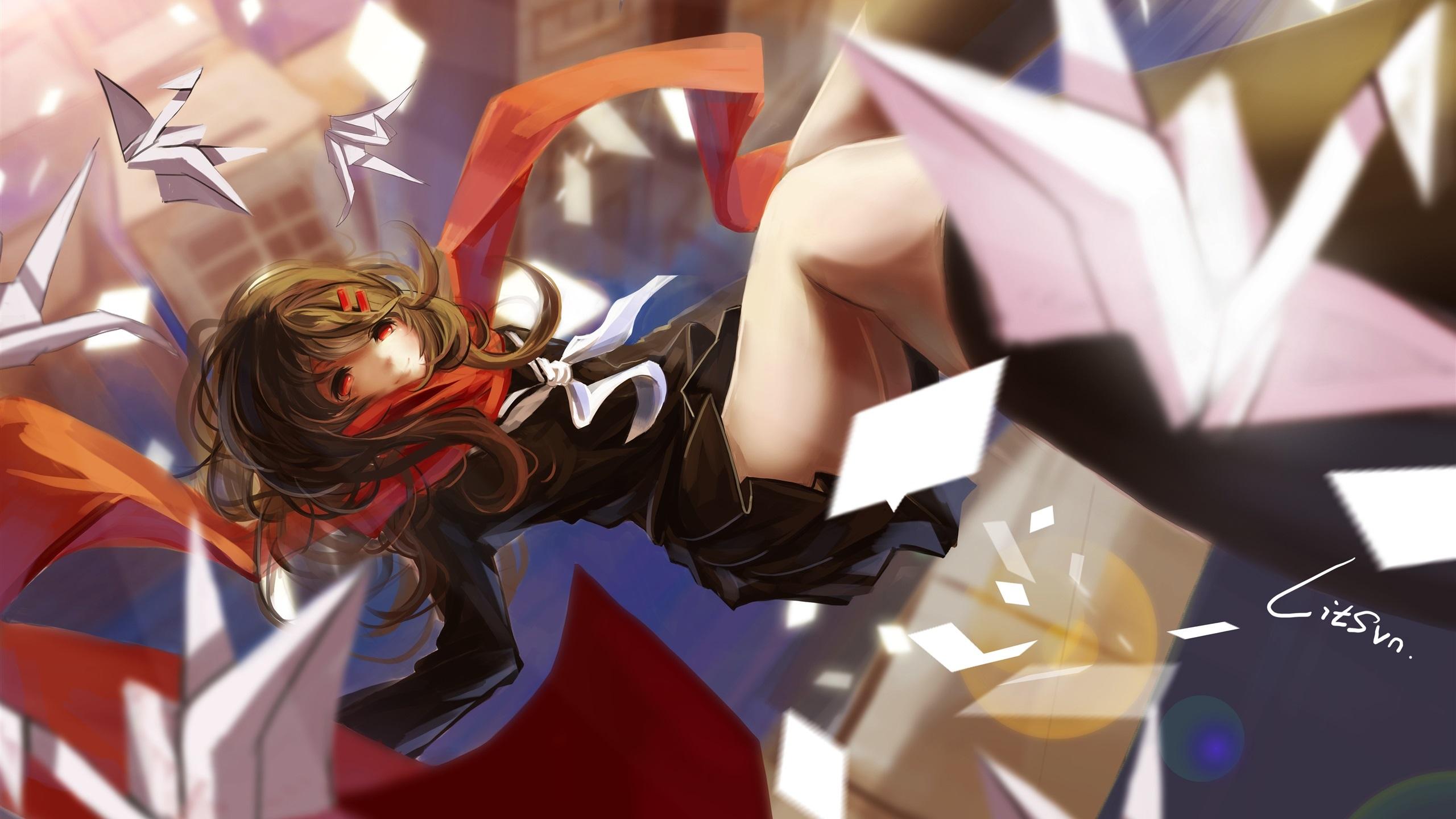 Wallpaper Anime girl flight, scarf, city, origami 8x8 HD