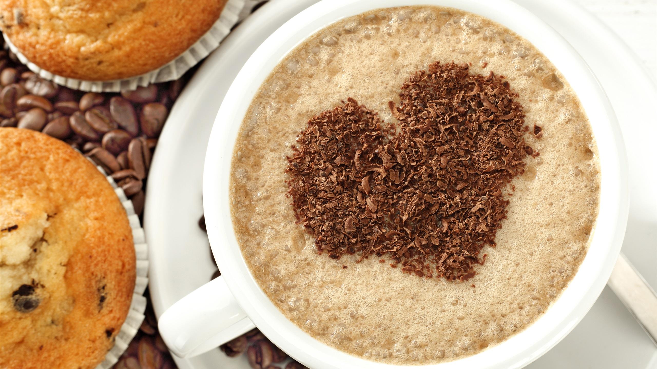 Cappuccino Kaffee, Liebesherzen , Kuchen 3840x2160 UHD 4K