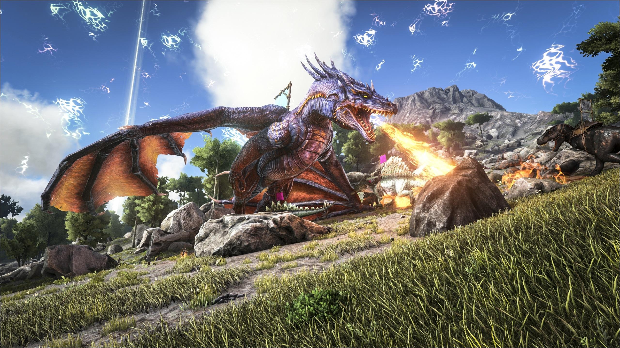 Wallpaper Ark Survival Evolved Fire Breathing Dragon