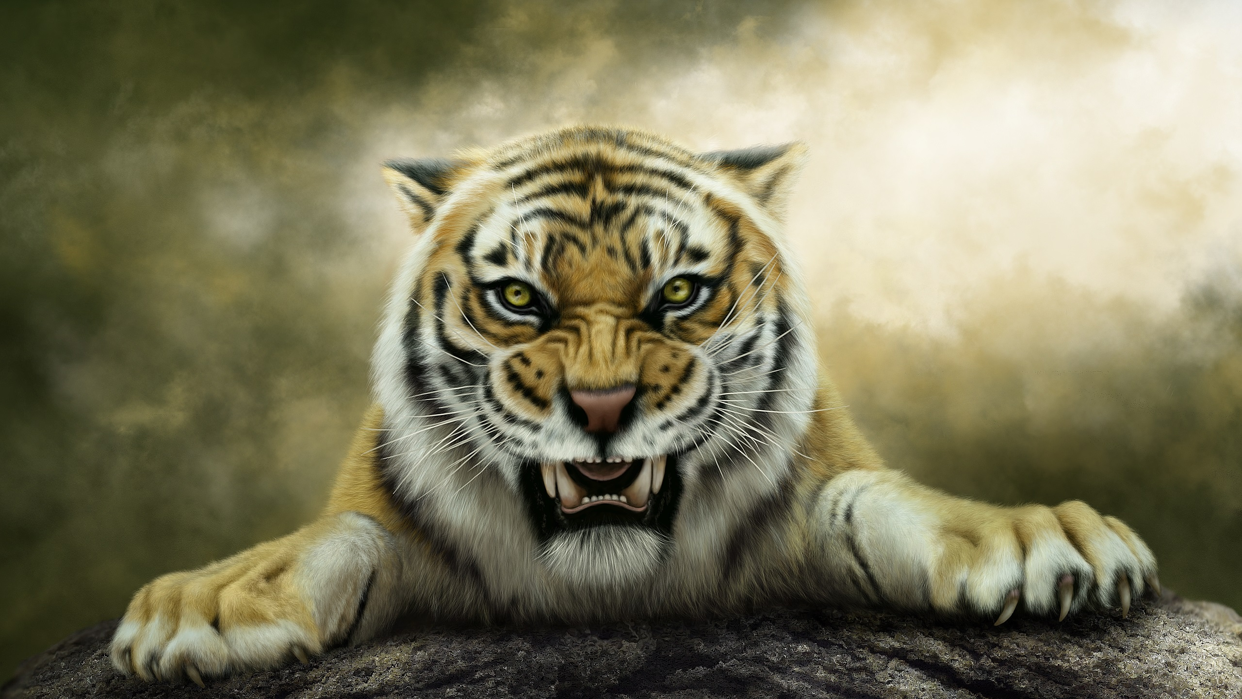 wallpaper forest king, tiger, face, big cat 2560x1440 qhd picture, image