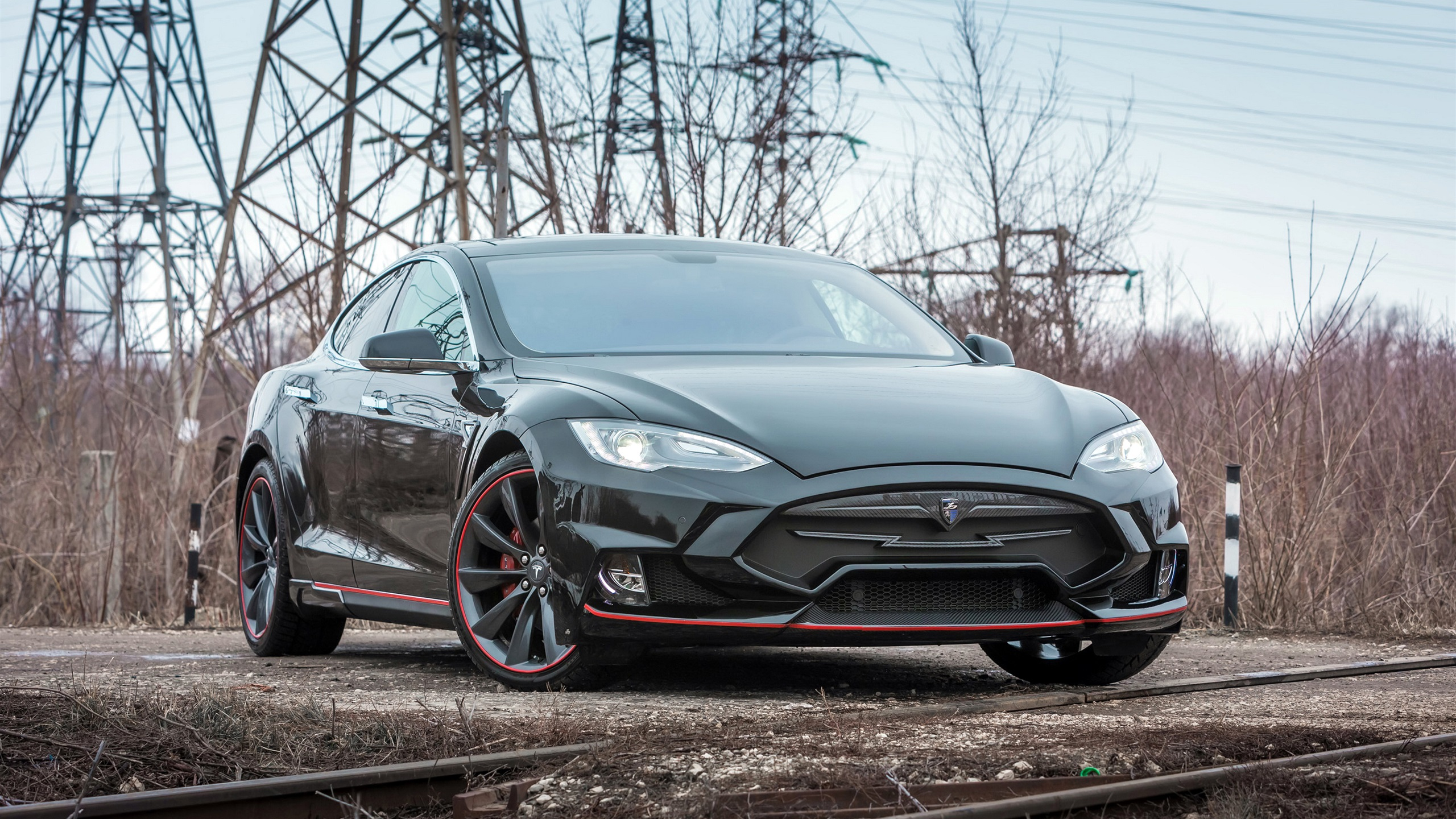 wallpaper tesla model s black electric car front view 3840x2160 uhd