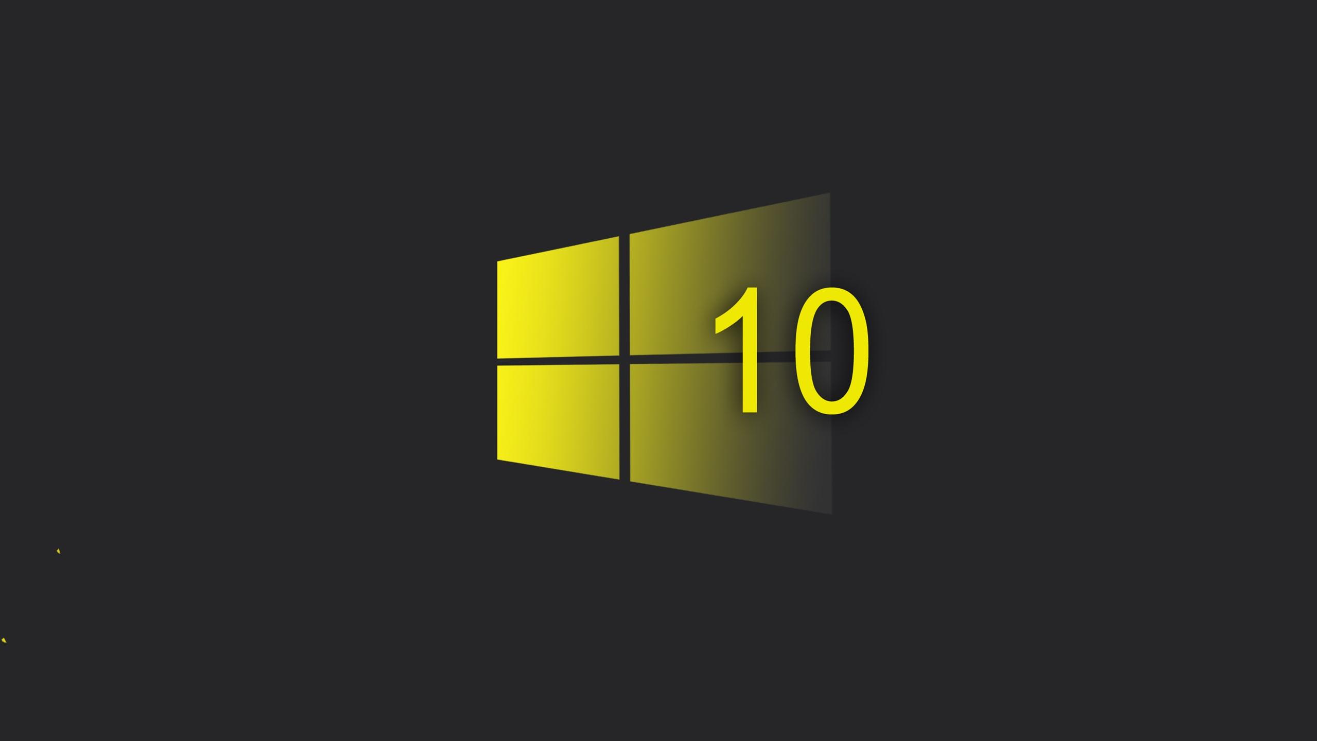 Windows 10 System Yellow Style Logo Black Background