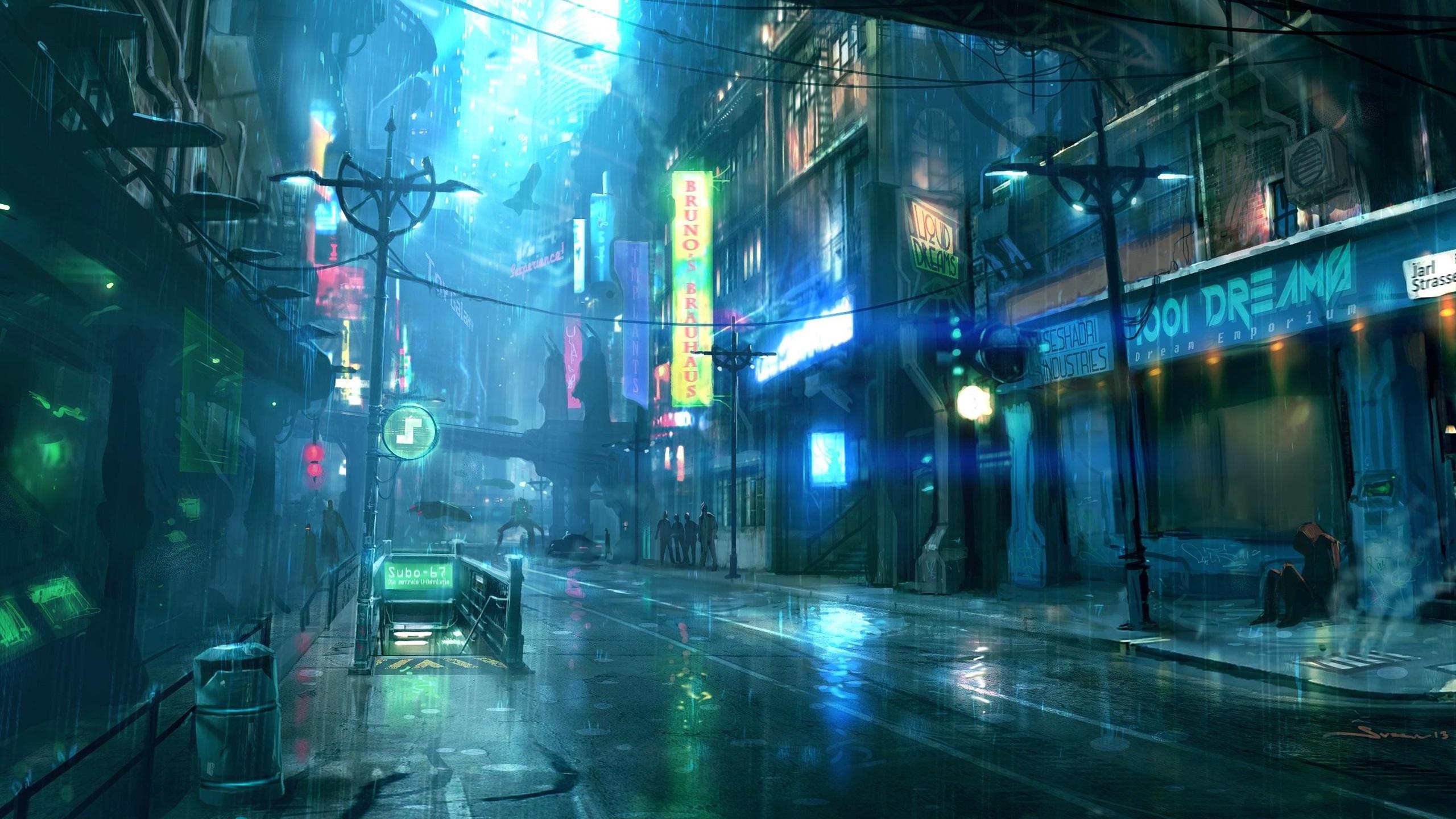 壁紙 雨の夜の街 通り 建物 アートデザイン 2560x1440 Qhd 無料のデスクトップの背景 画像