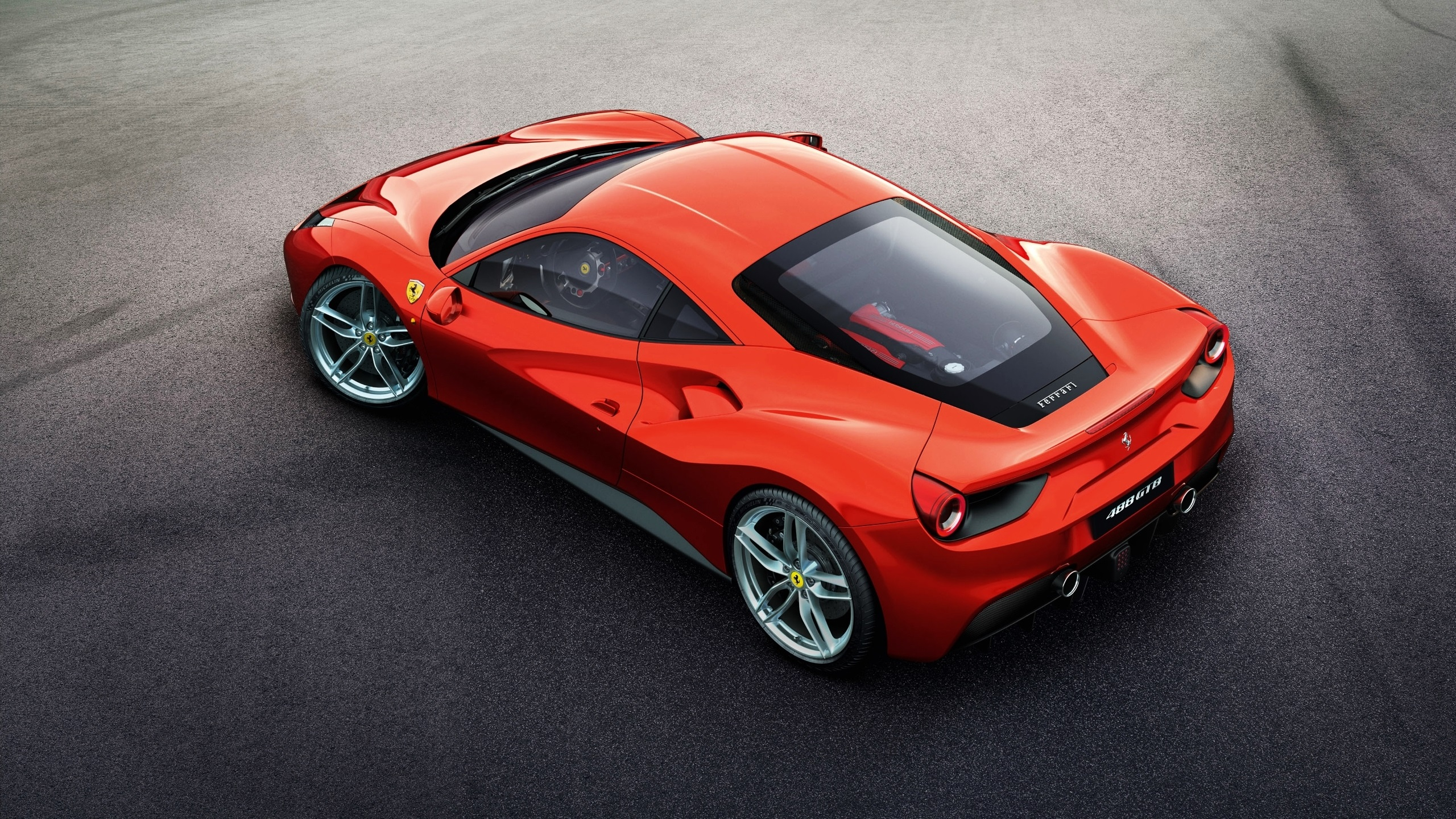 Wallpaper Ferrari 488 Gtb Red Supercar Top View 2560x1440 Qhd Picture Image