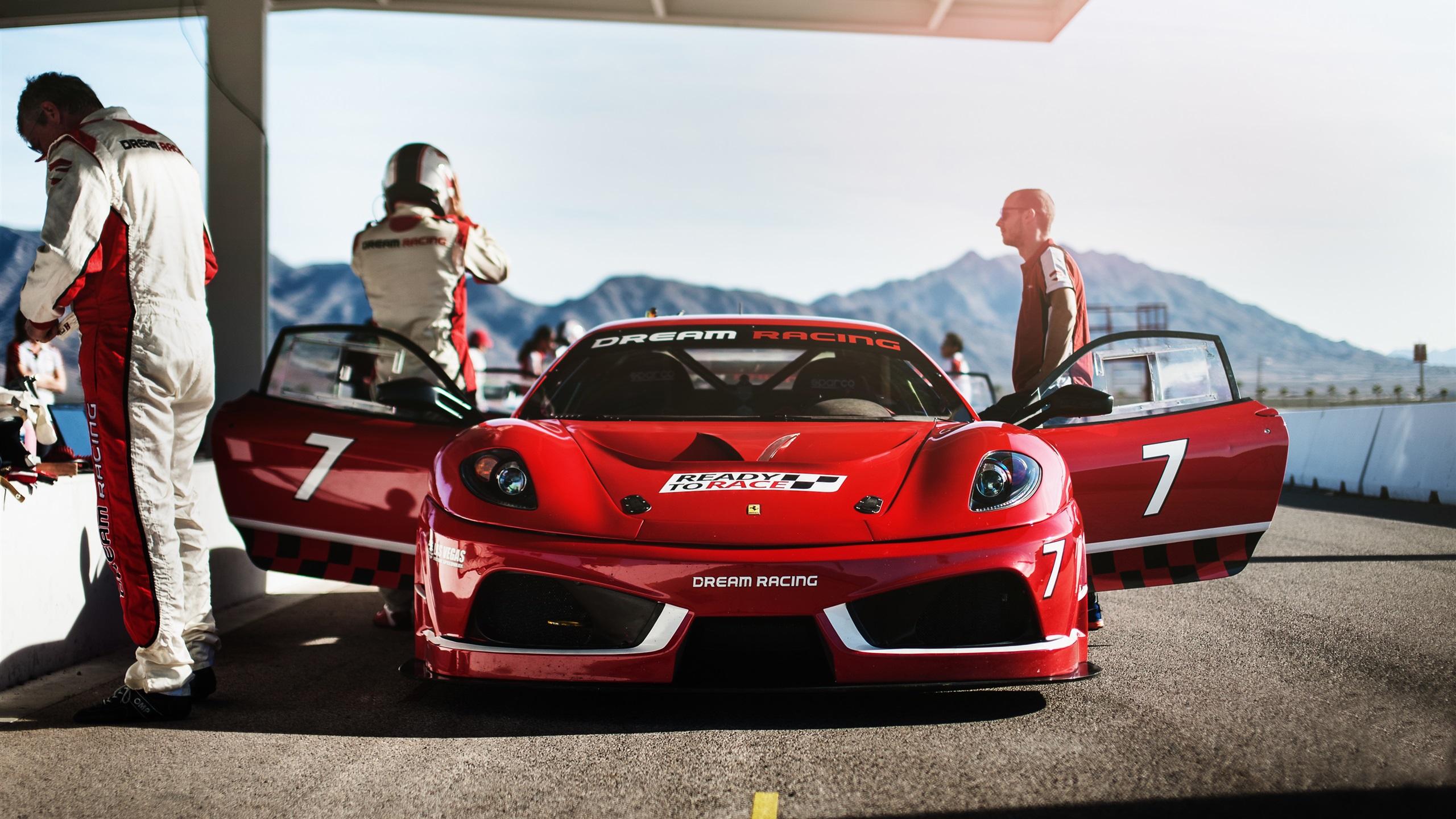 法拉利f430梦幻赛车,红色超级跑车前视图 壁纸 - 2560x1440 qhd