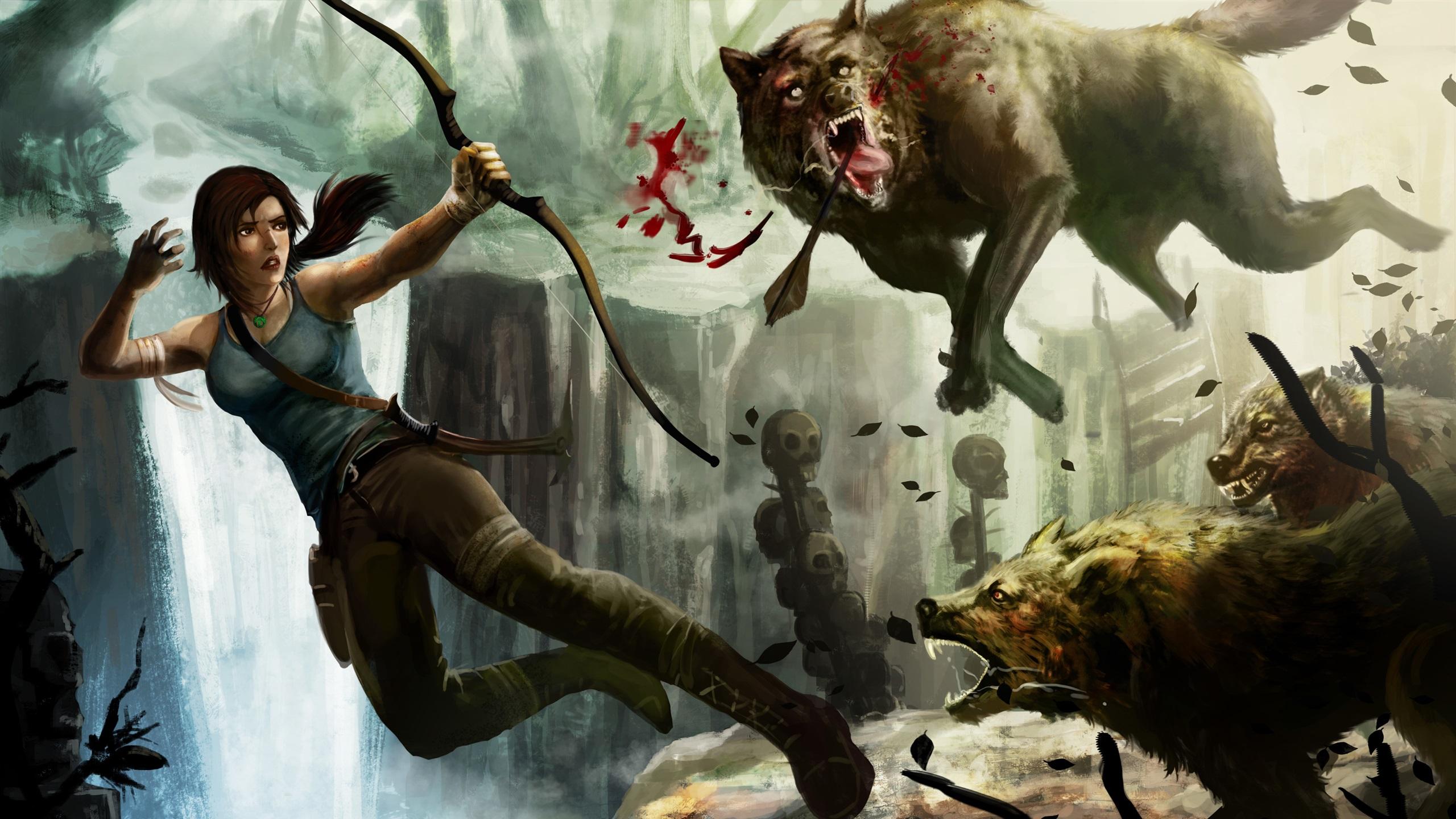 Обои lara croft, tomb raider, Медведь. Игры foto 13