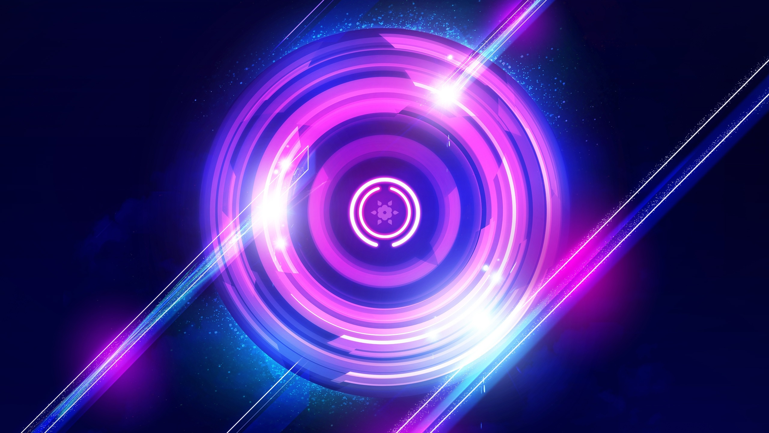 Wallpaper Purple Circles Light Abstract 2560x1440 Qhd