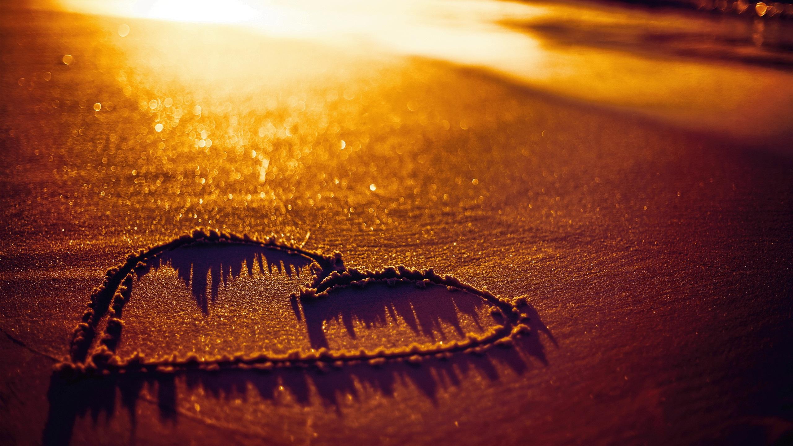 love heart beach sands sunset wallpaper 2560x1440 qhd description love ...