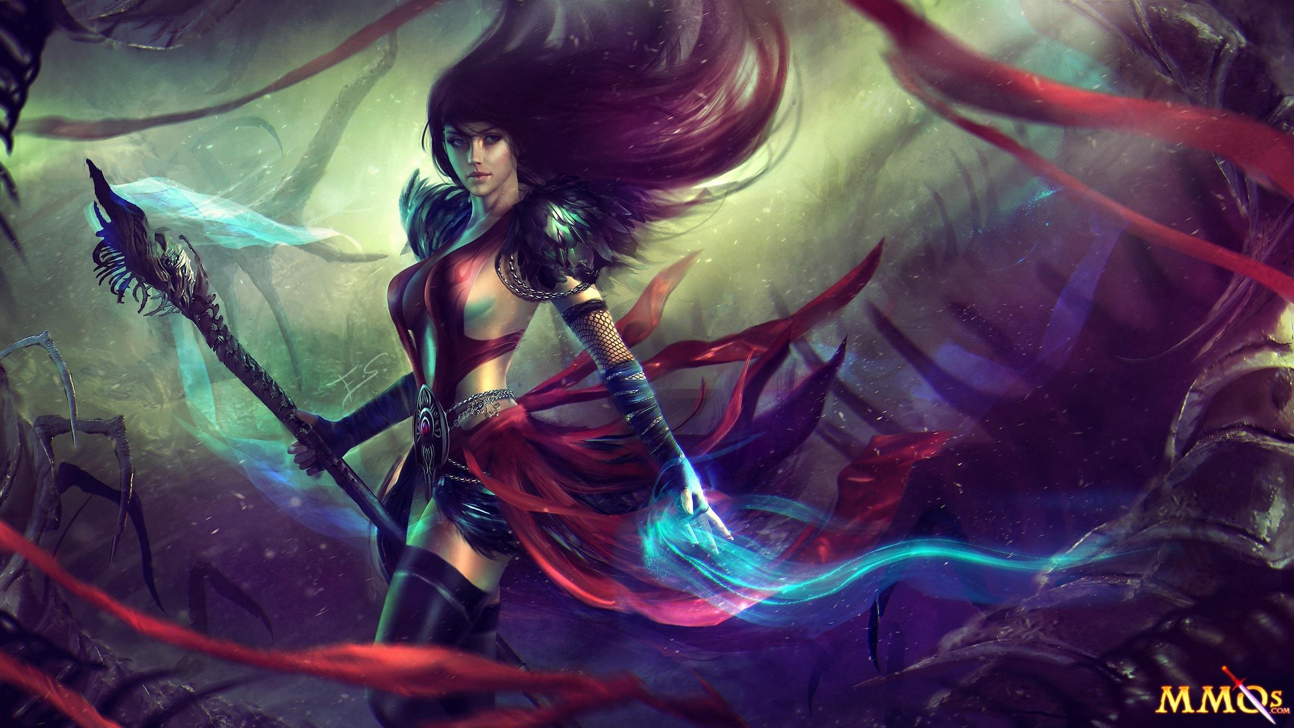 Wallpaper Guild Wars 2 Beautiful Girl Magic 2560x1440 Qhd