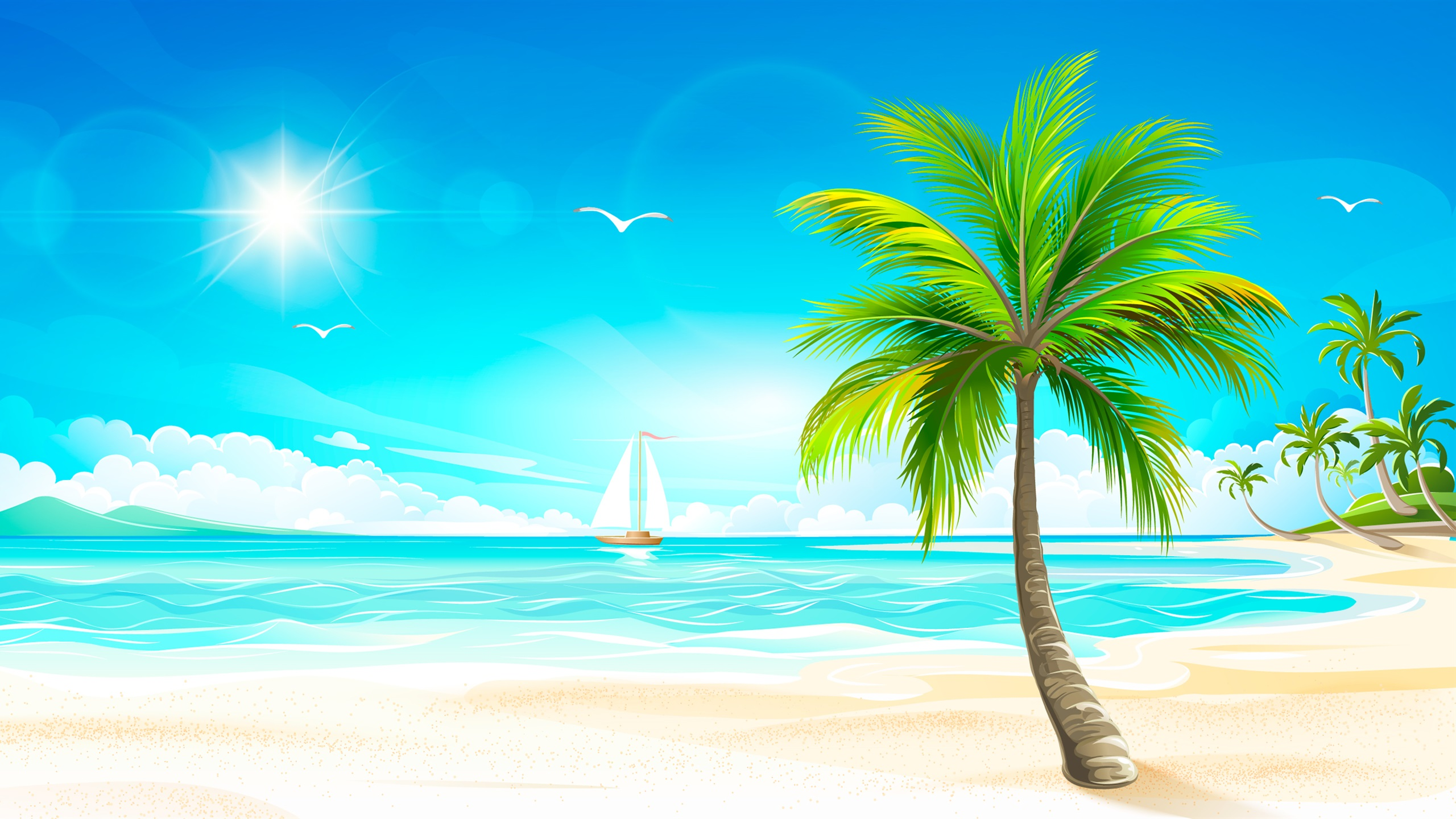 Fondos de pantalla vector de dise o playa palmeras sol mar barcos aves 2560x1440 qhd imagen - Playa wallpaper ...