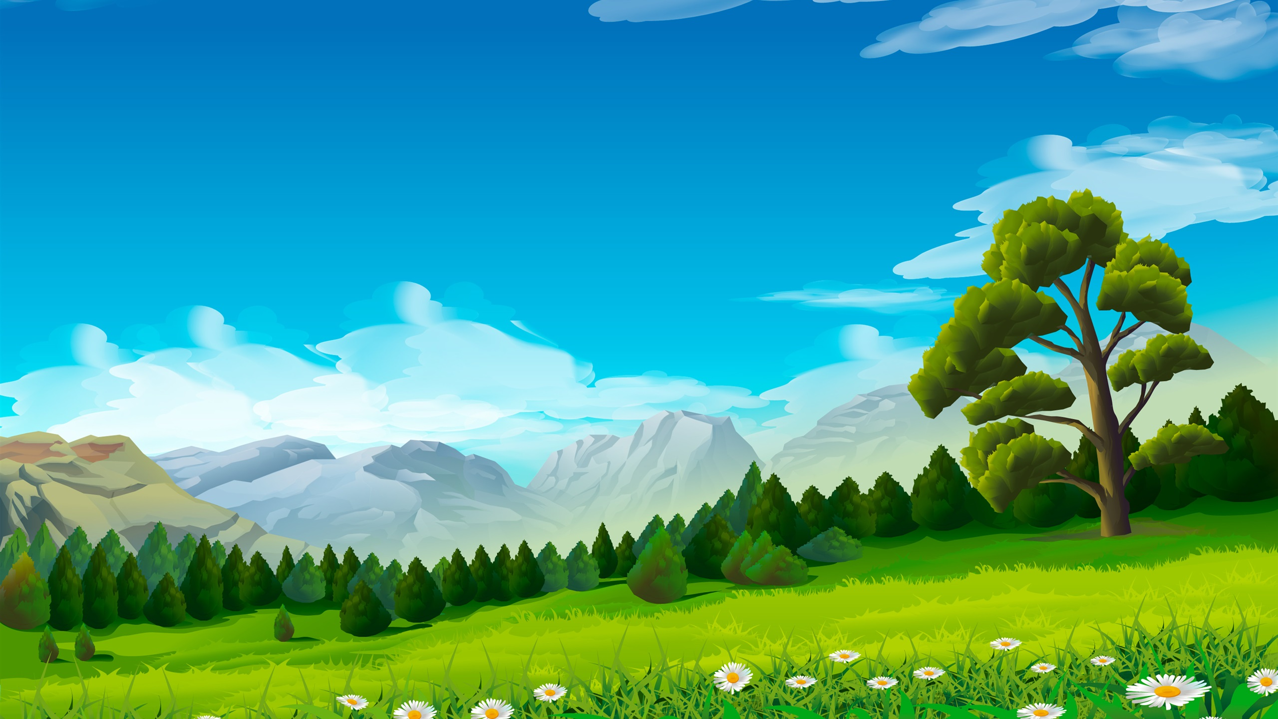 Wallpaper Trees Chamomile Grass Mountains Vector Picture