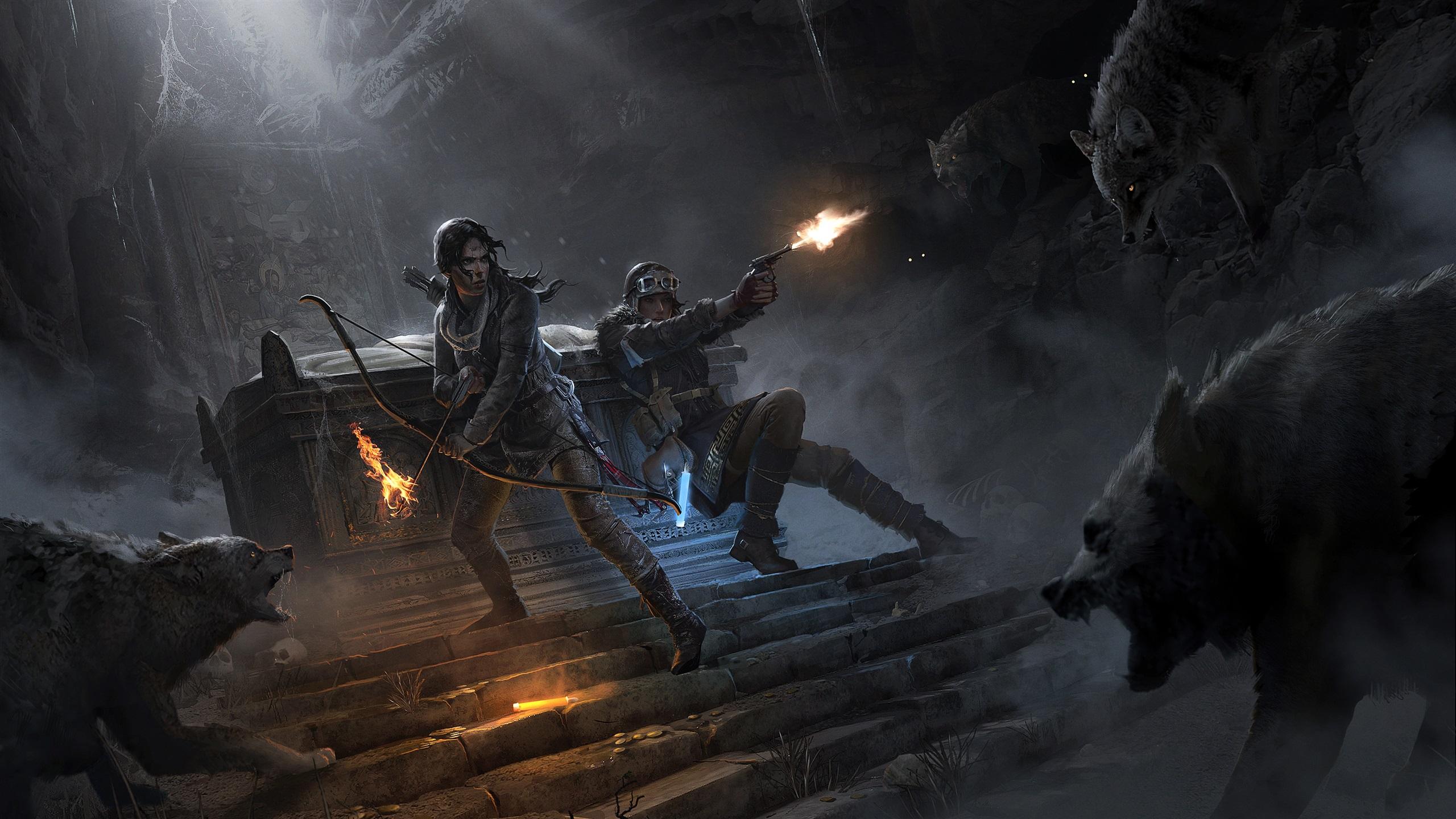 Wallpaper Rise Of The Tomb Raider Lara Croft Bow Wolf Fire