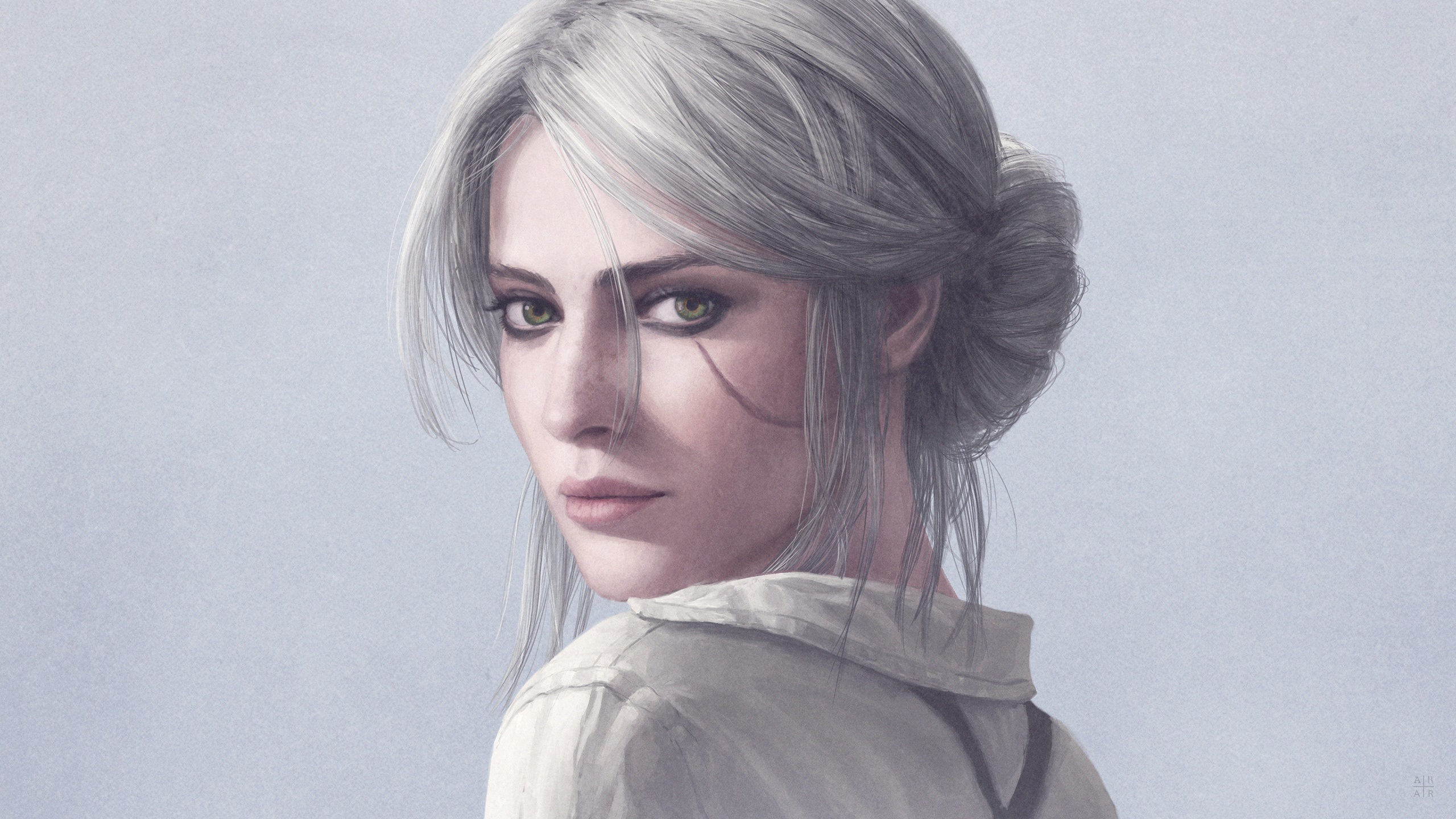 Wallpaper The Witcher 3 Wild Hunt White Hair Girl Look Back