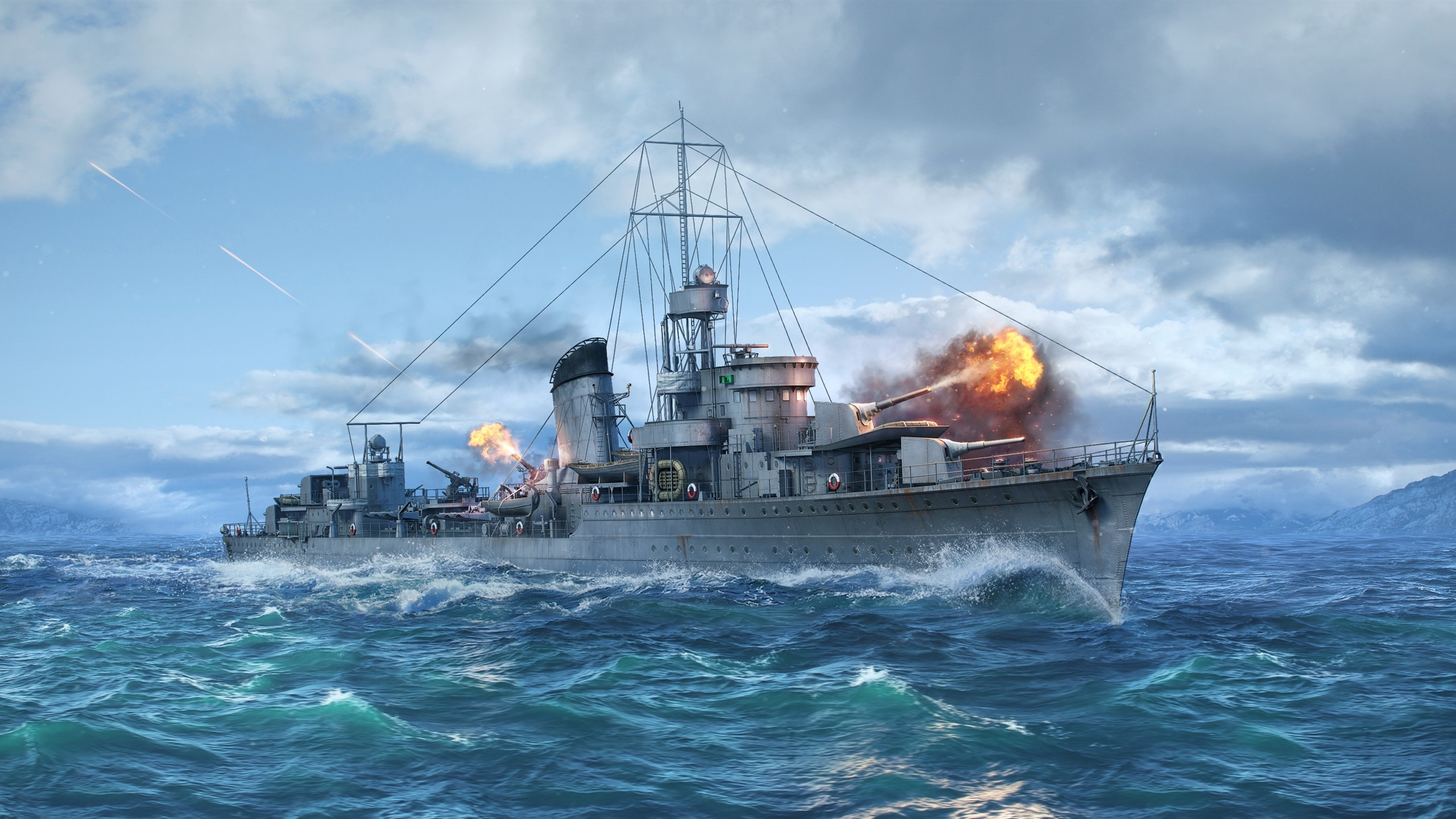 Wallpaper World Of Warships Destroy Sea Ship 2560x1600 Hd