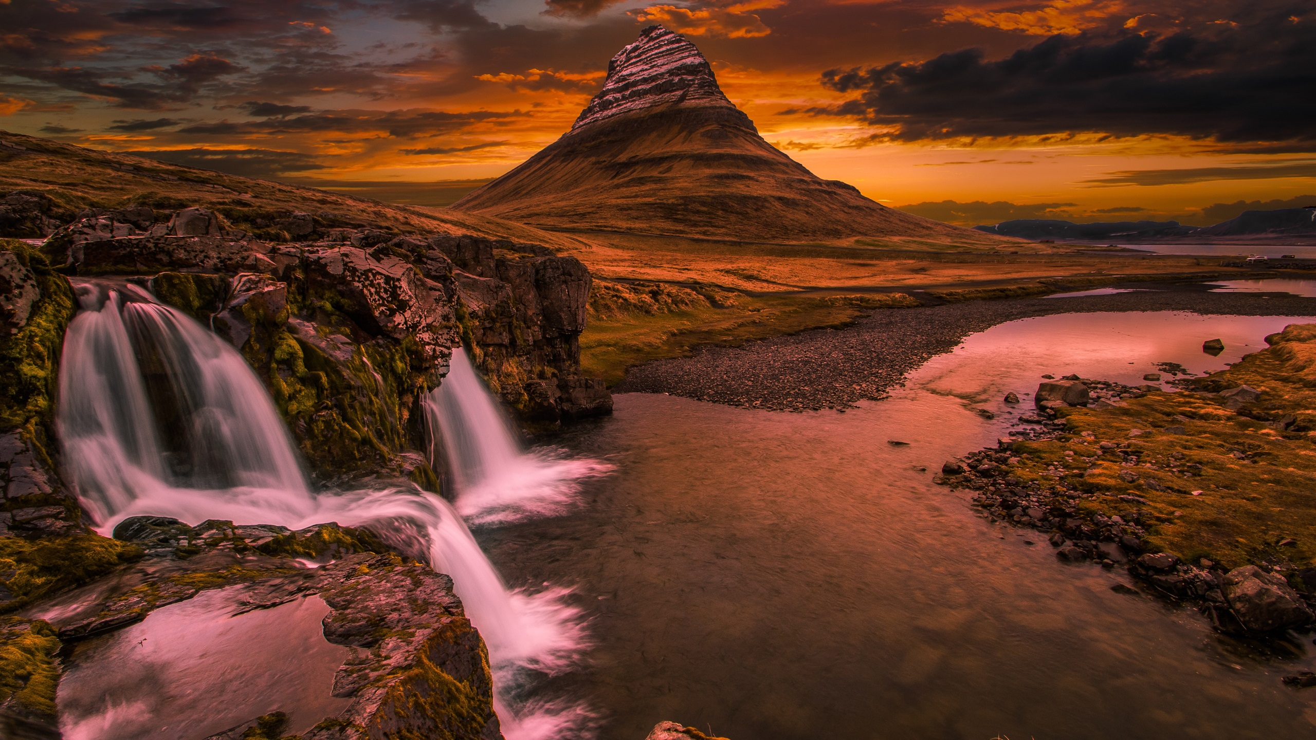 Wallpaper Kirkjufell Iceland Waterfall Mountain Clouds Sunset 3840x2160 Uhd 4k Picture Image