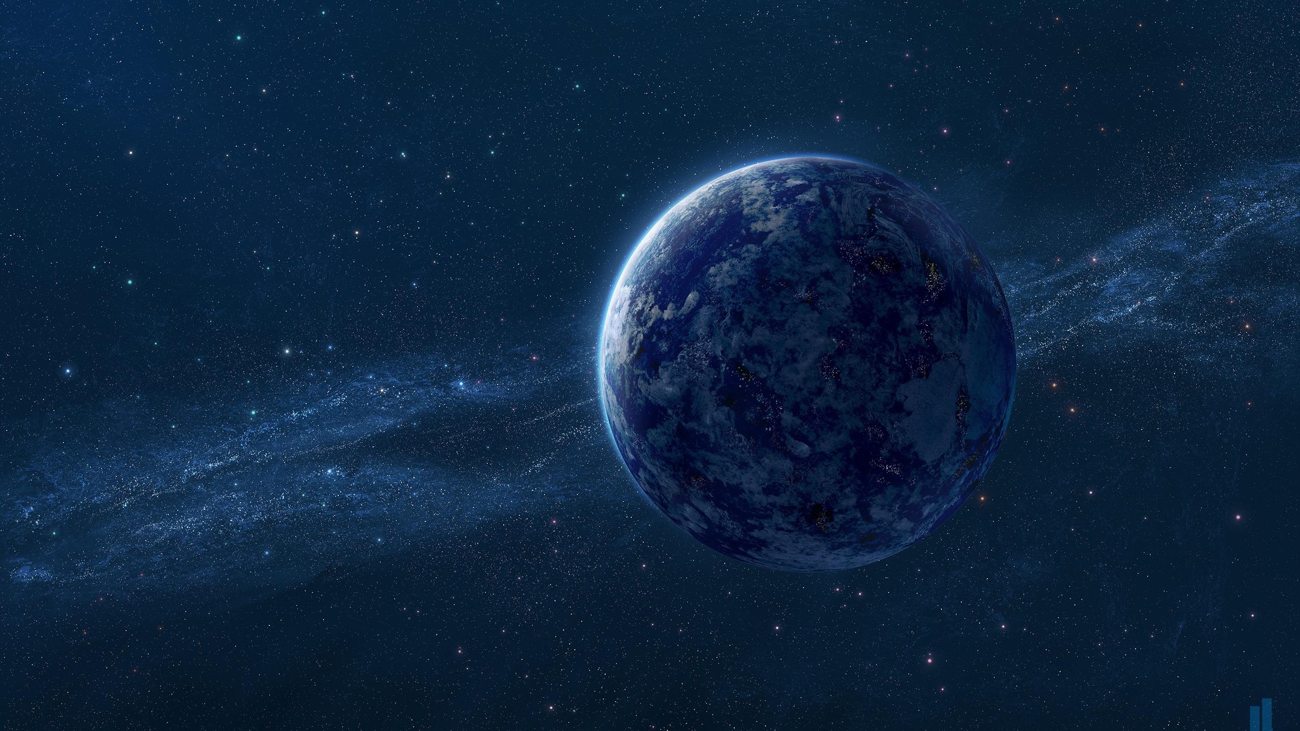 Fonds Décran Blue Earth La Voie Lactée Les étoiles L