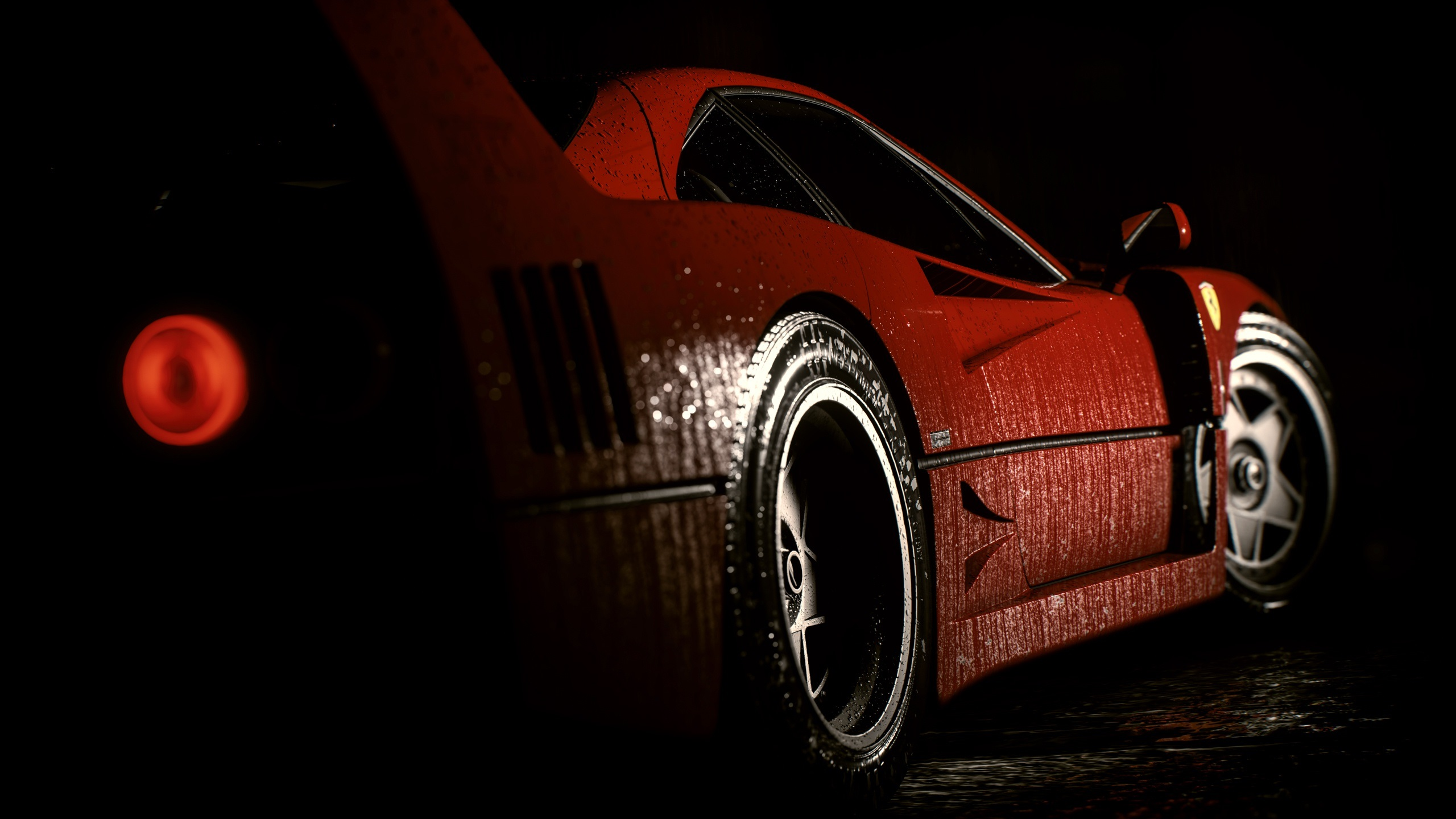 Wallpaper Red Ferrari Sports Car Side View Water Drops Night 2560x1440 Qhd Picture Image