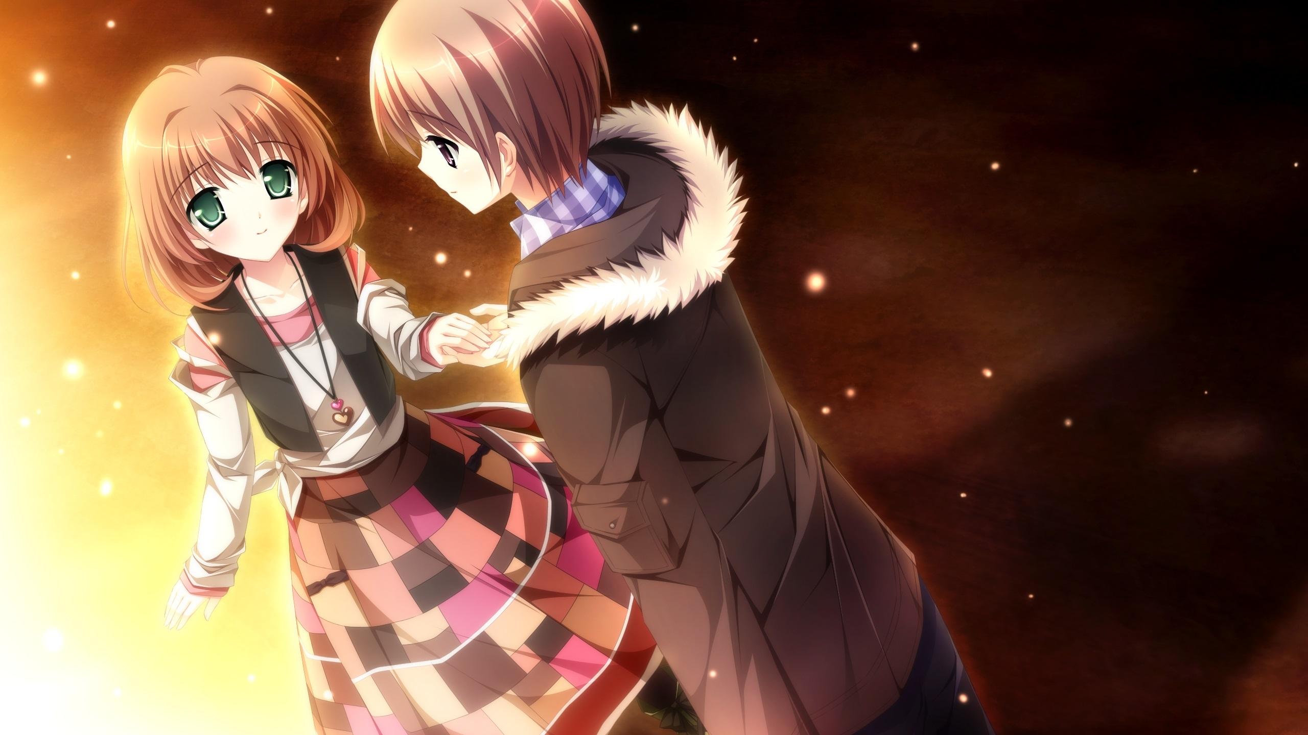 壁紙 アニメの少女と少年 恋人 2560x1440 Qhd 無料のデスクトップの背景 画像