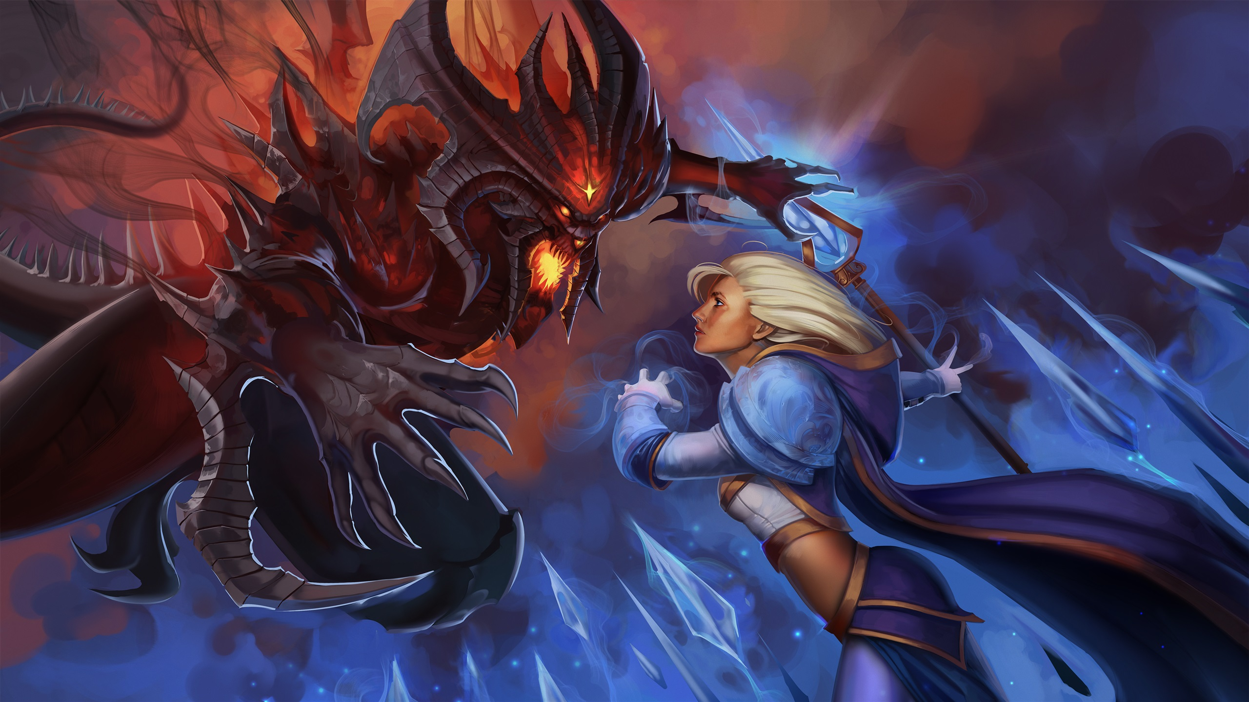 Wallpaper Heroes Of The Storm Girl And Monster Warcraft