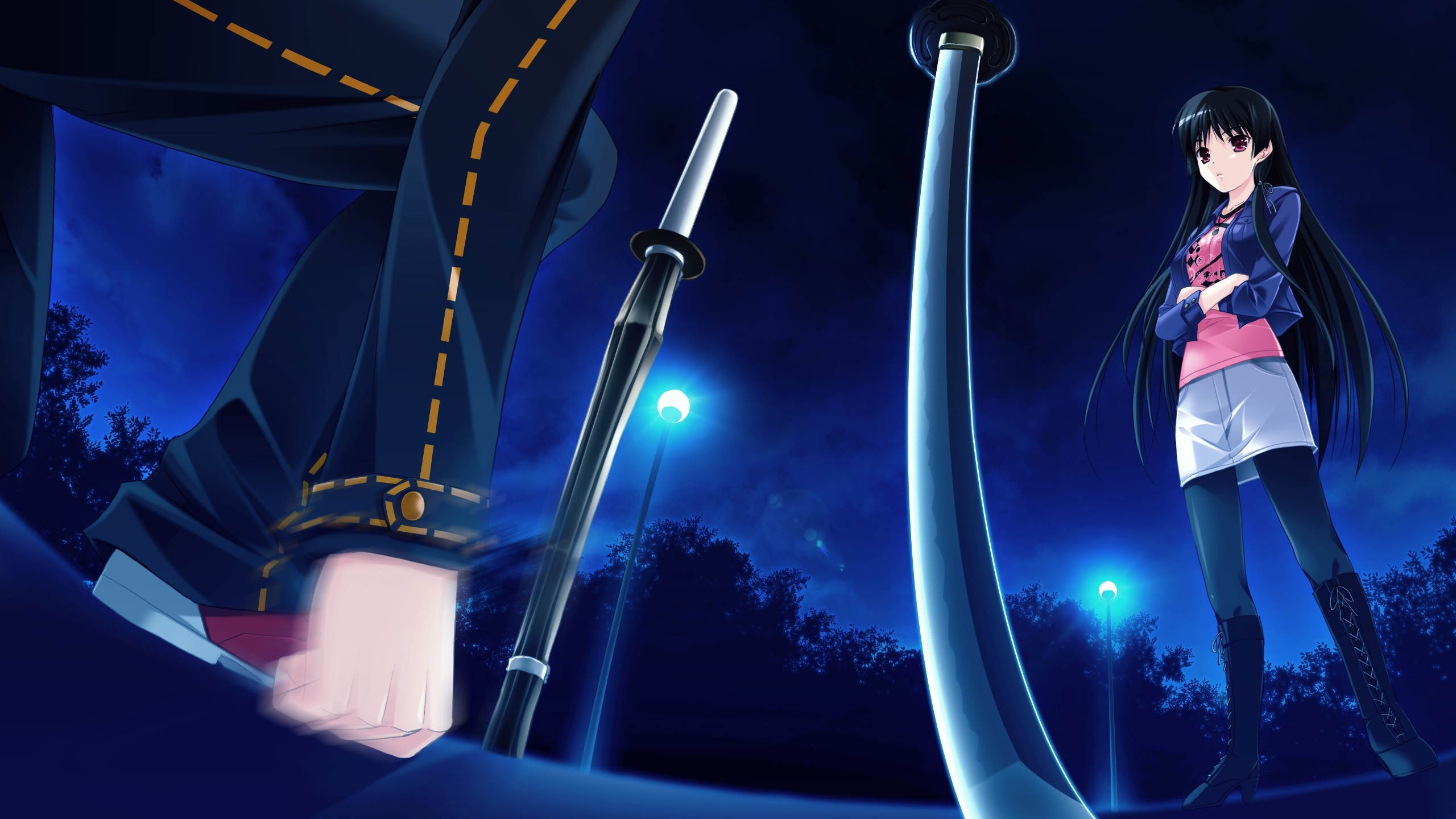 壁紙 長い髪のアニメの女の子 夜 ライト 剣 2560x1440 Qhd 無料のデスクトップの背景 画像