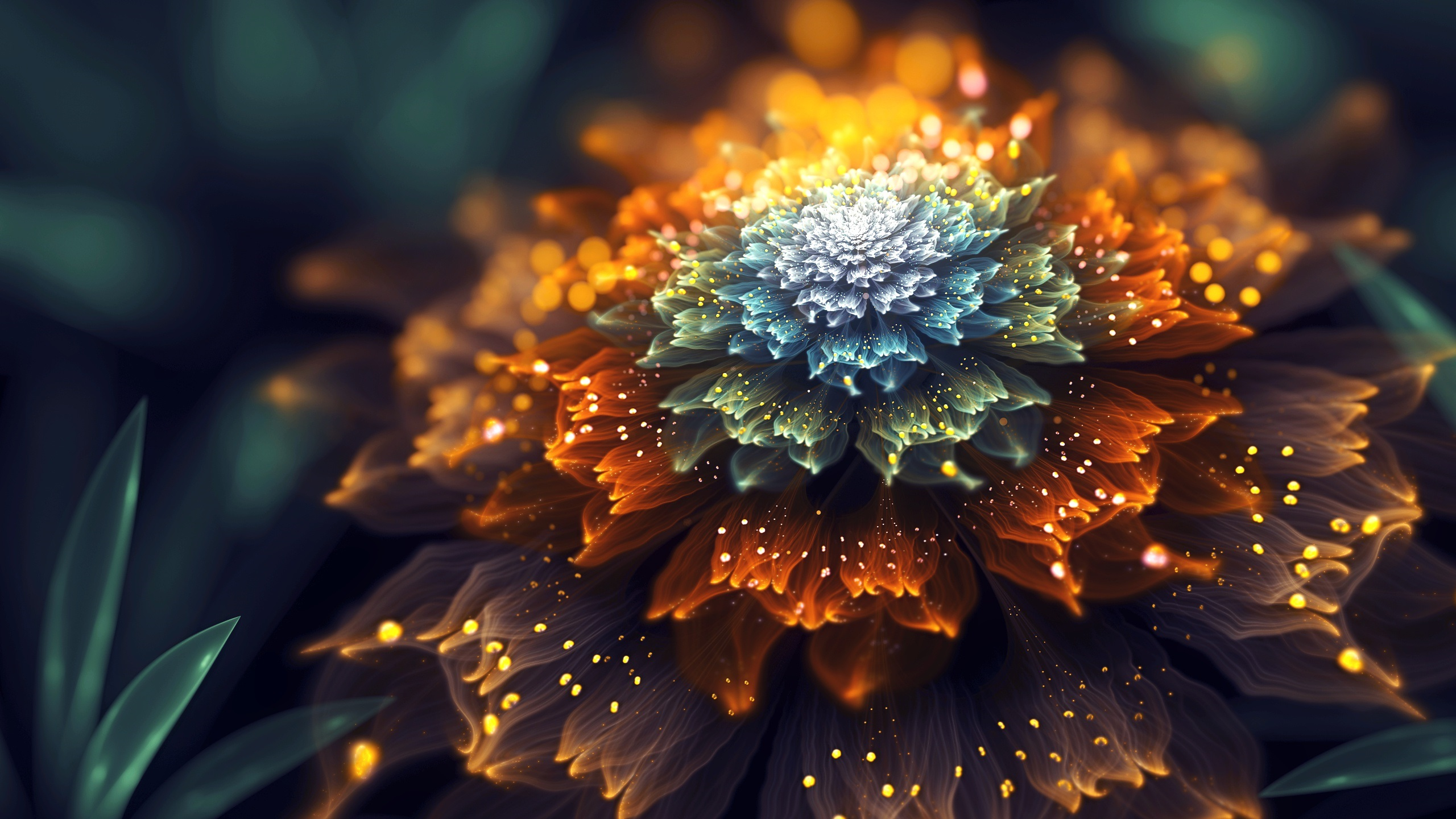 Wallpaper Abstract Flower Orange And Blue Petals Shine 2560x1440 Qhd Picture Image