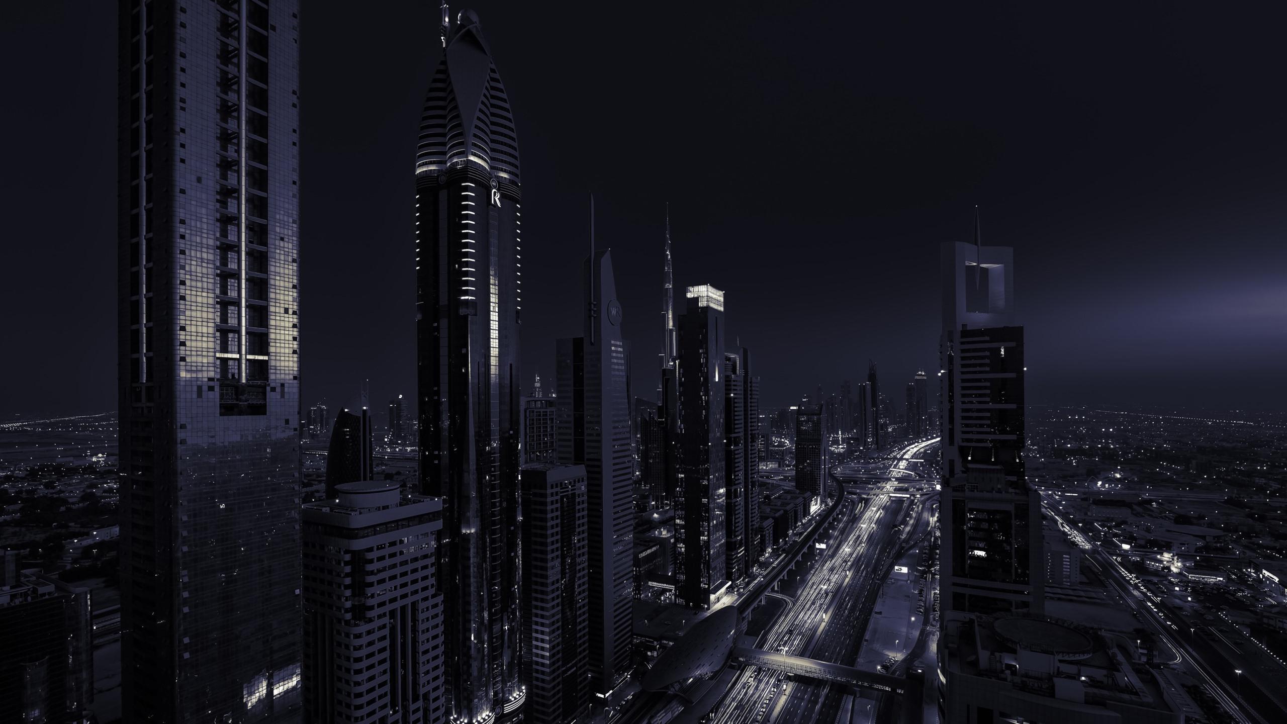 Fonds Décran Dubaï émirats Arabes Unis Gratte Ciel Nuit