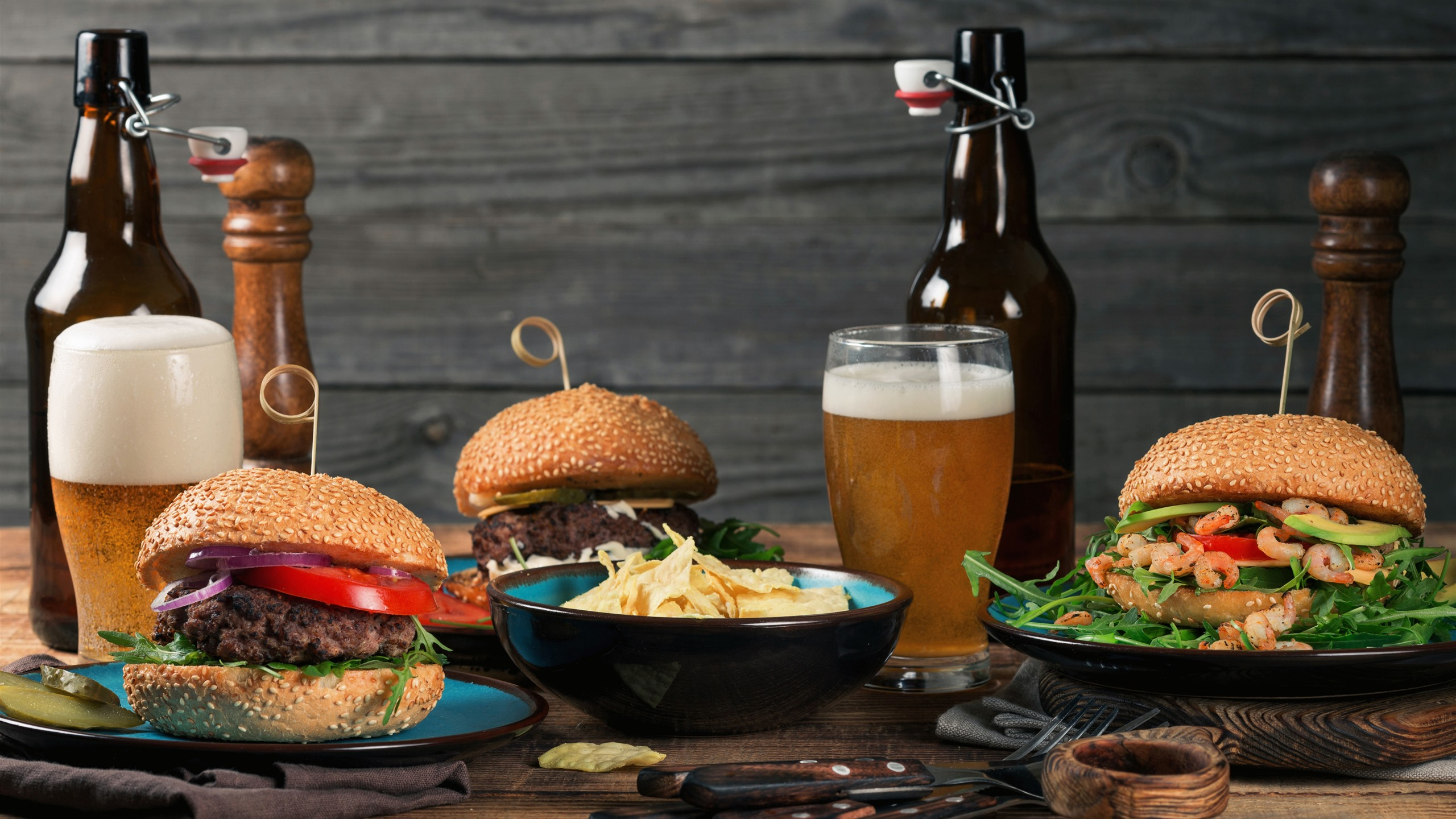 Fast Food, Burgers, Beer, Bottle, Meal 1242x2688 IPhone XS