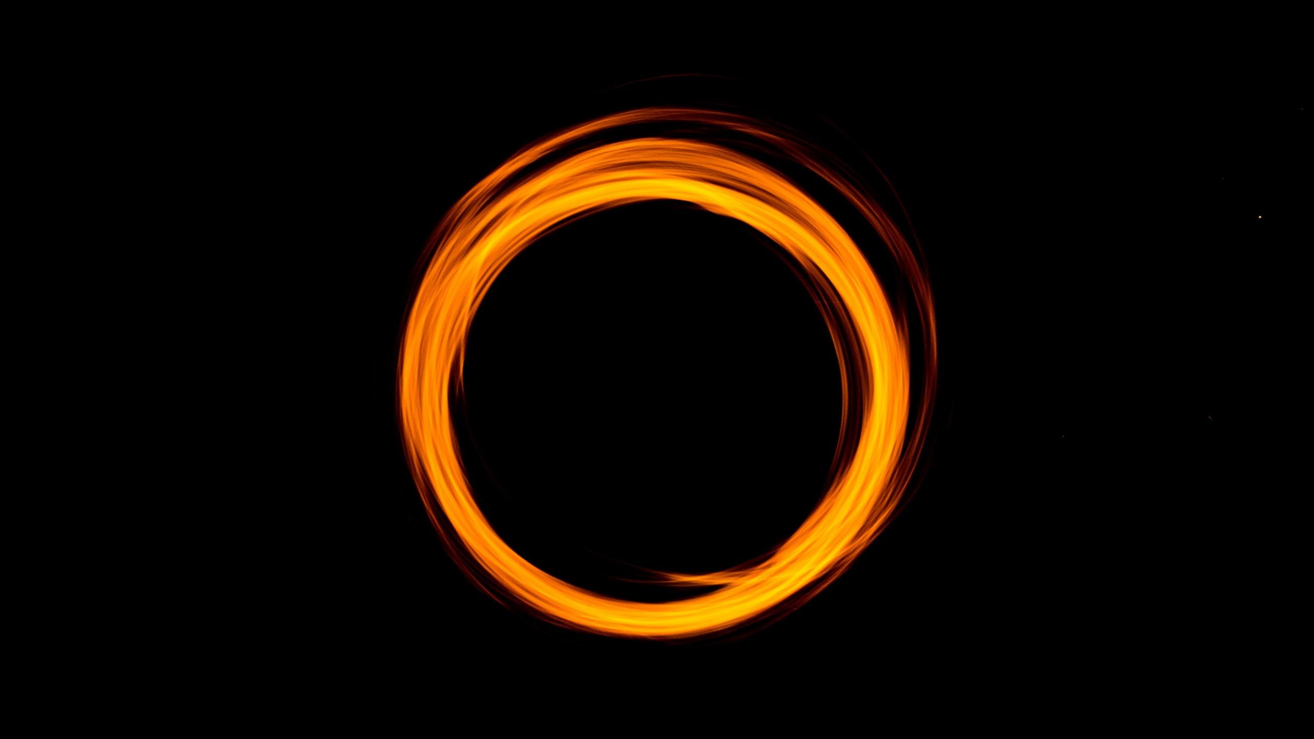 Wallpaper Orange Light Circle Black Background 2880x1800 Hd