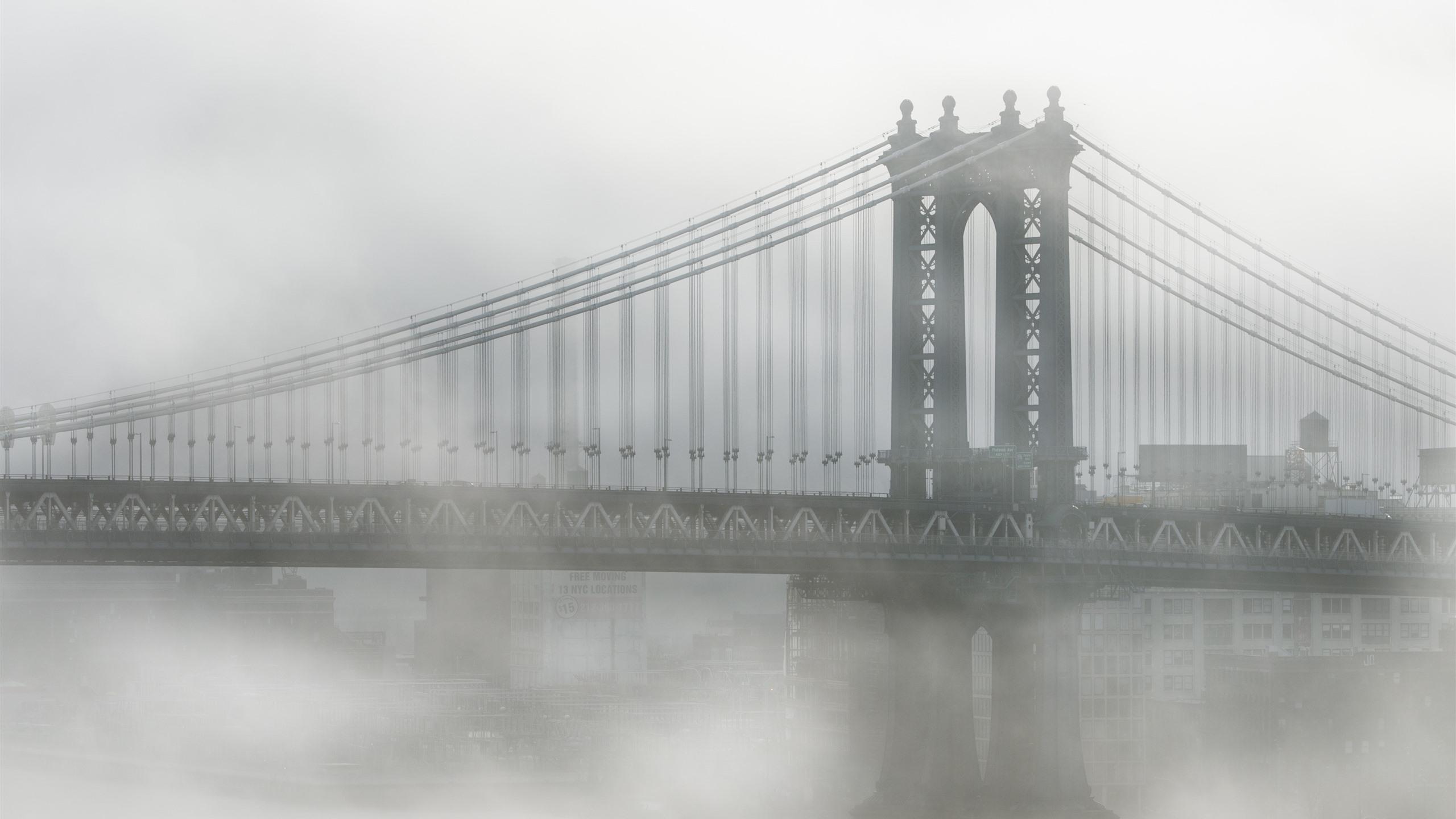 Usa New York Brooklyn Bridge Fog Morning 1242x2688