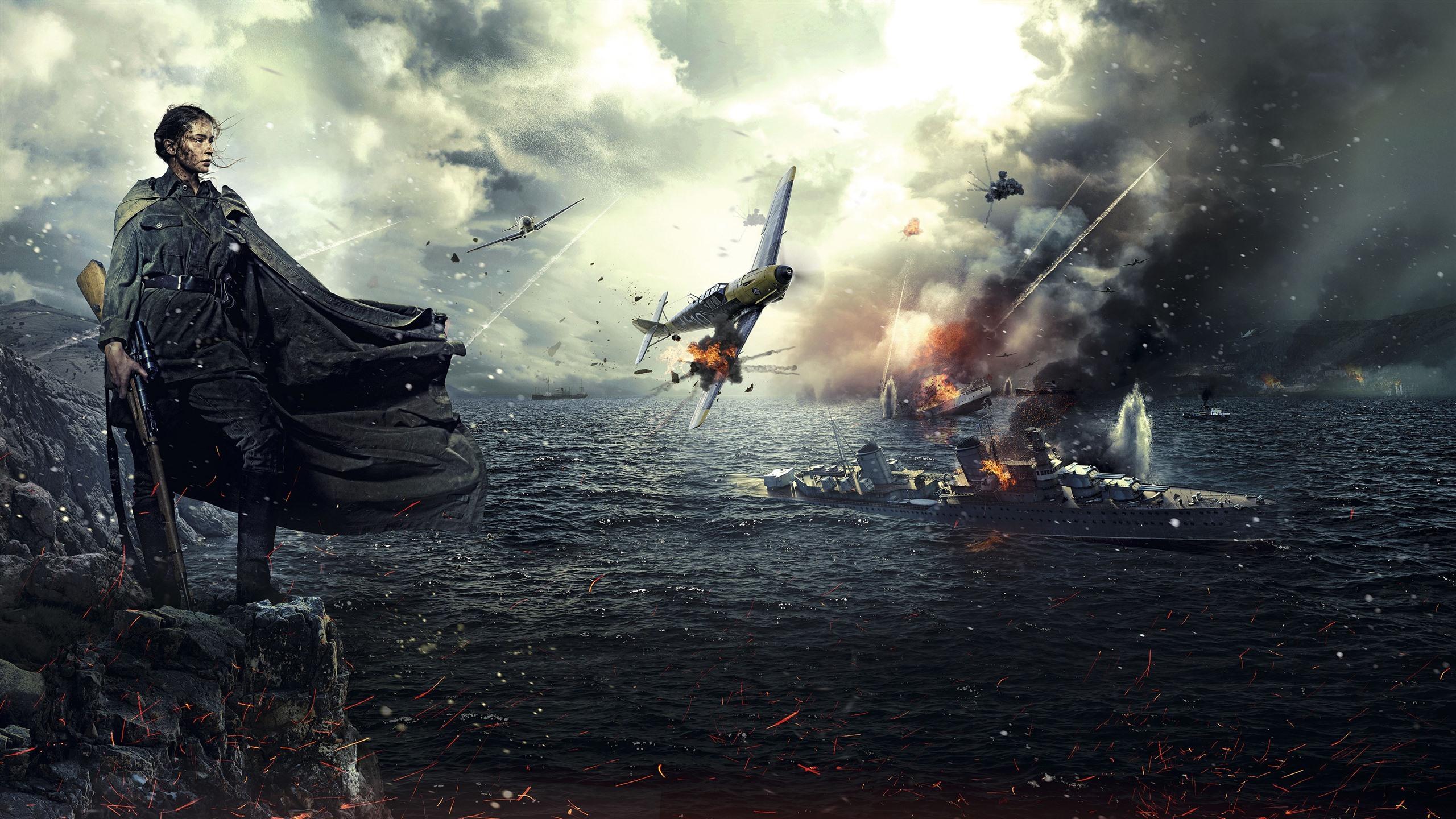 Fonds D Ecran Deuxieme Guerre Mondiale Fille Navire Combattant Jeu Ps4 3840x2160 Uhd 4k Image