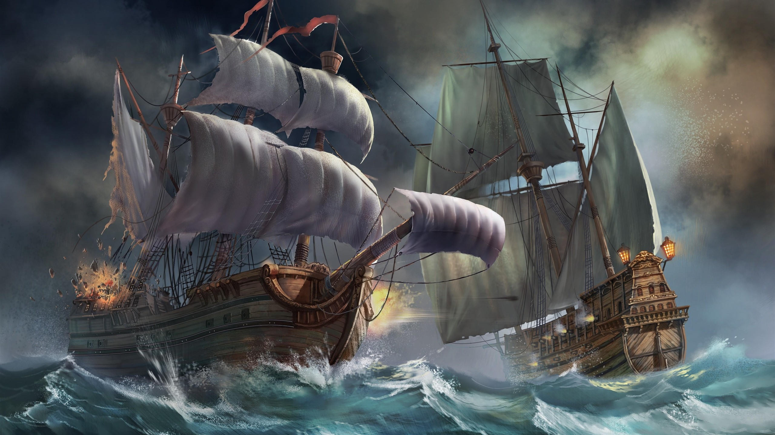 Sailboats Sea Waves Battle Art Picture 1125x2436 Iphone