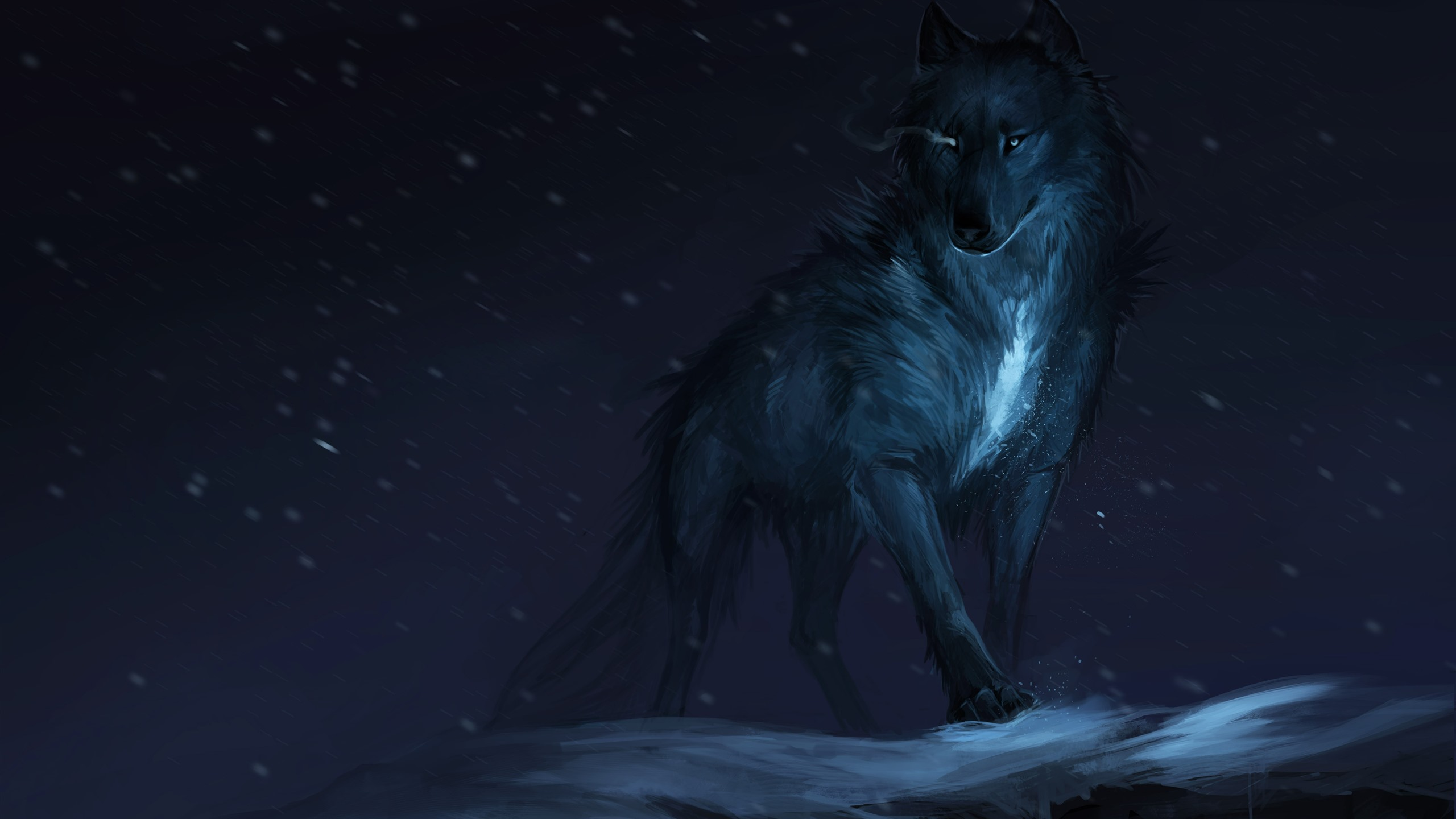 Black Wolf Night Art Picture 1242x2688 Iphone 11 Pro Xs Max Wallpaper Background Picture Image