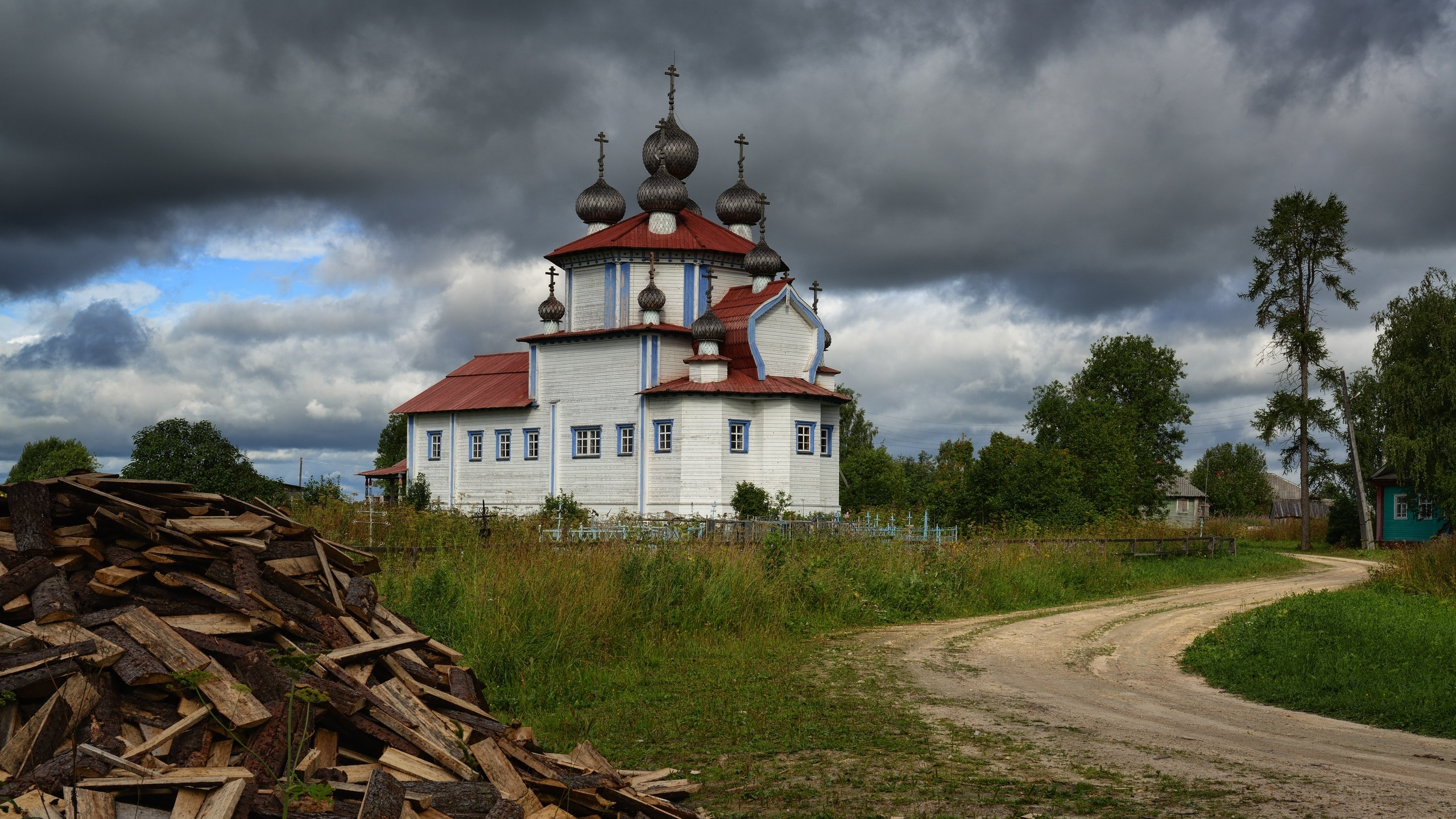 Wallpaper Russia Church Clouds Path Trees Wood