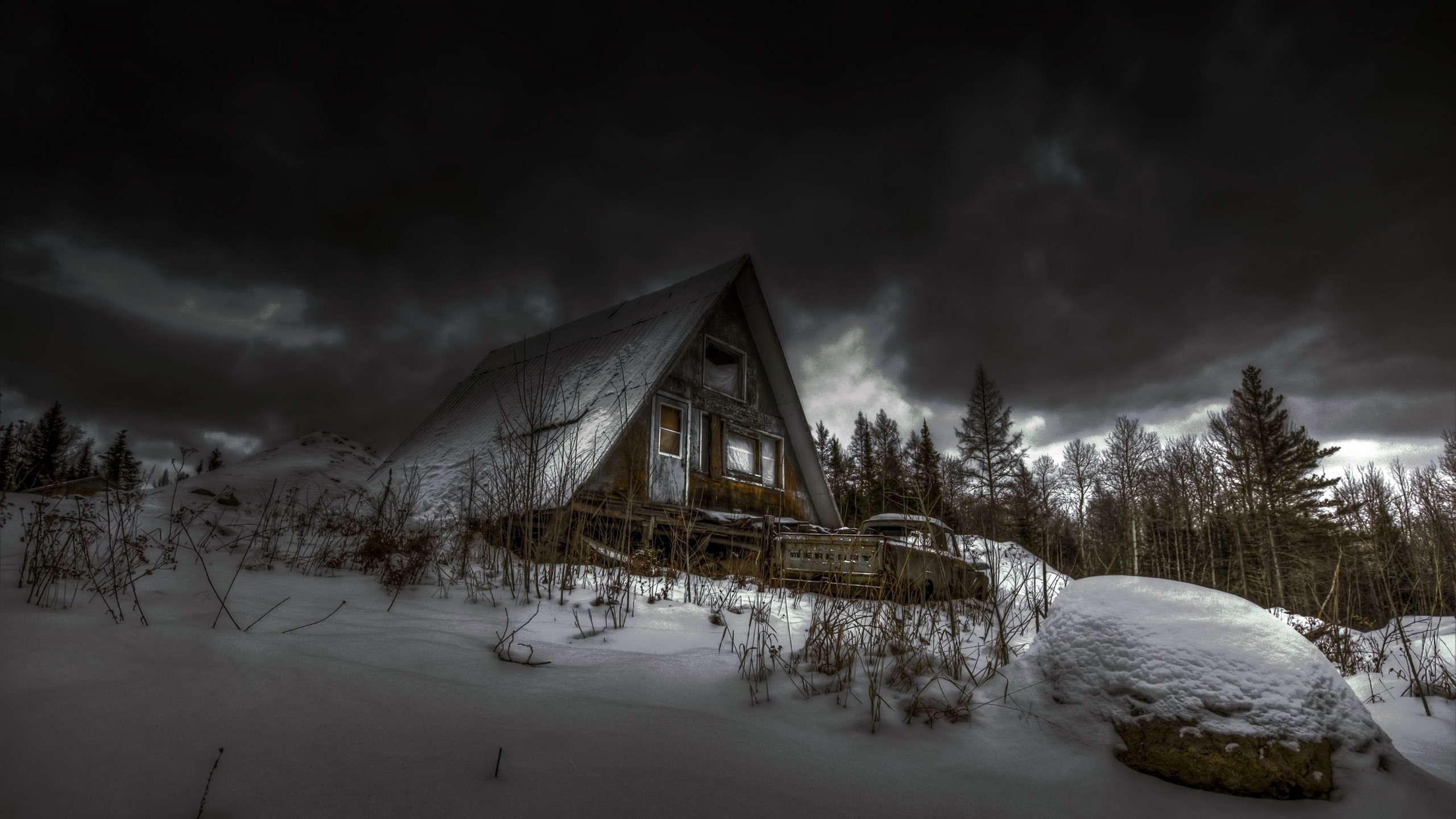 Wallpaper Wood House Trees Snow Clouds Winter 2560x1600 Hd