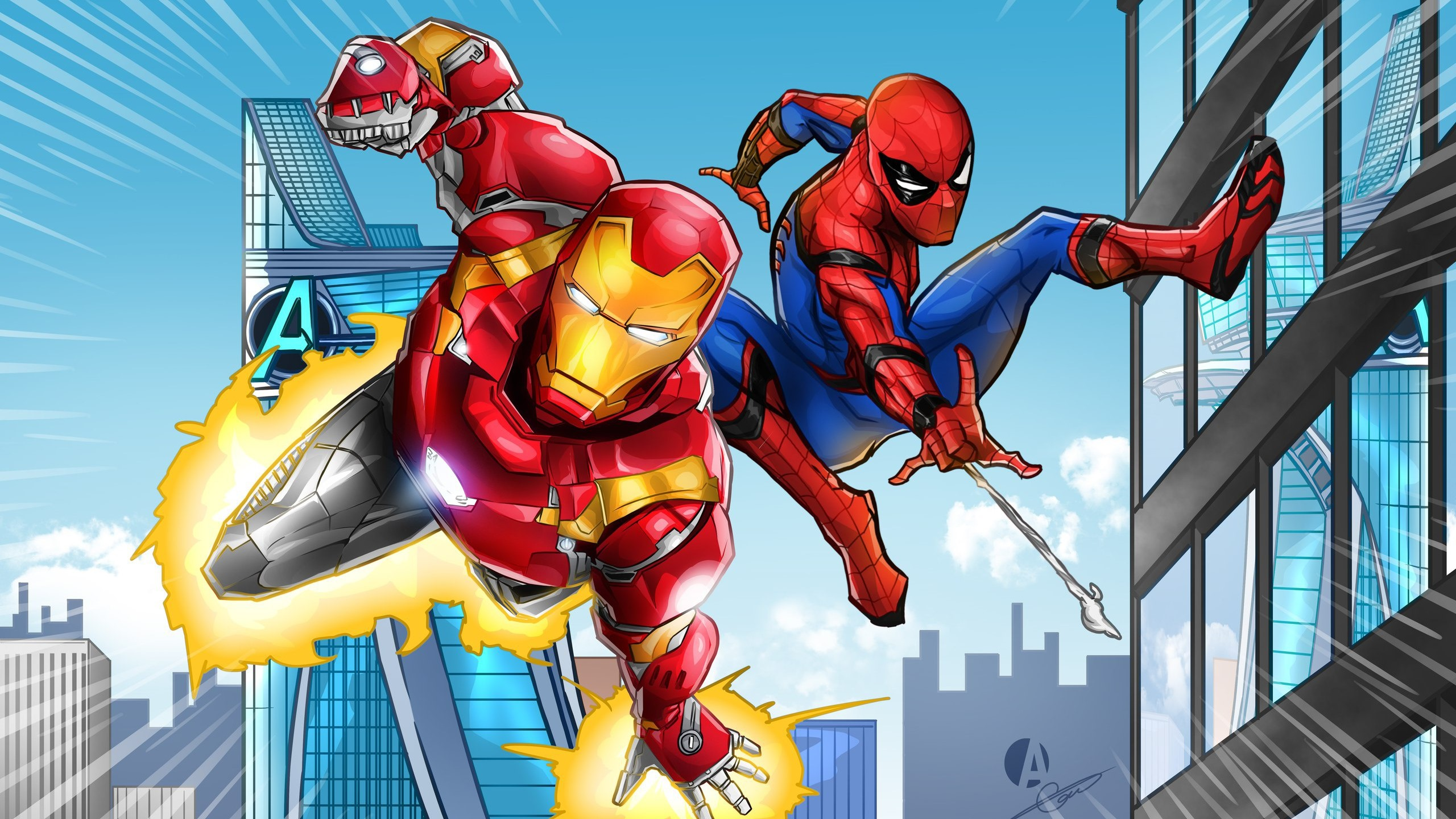 Wallpaper Iron Man And Spider Man Dc Comics 2560x1440 Qhd Picture