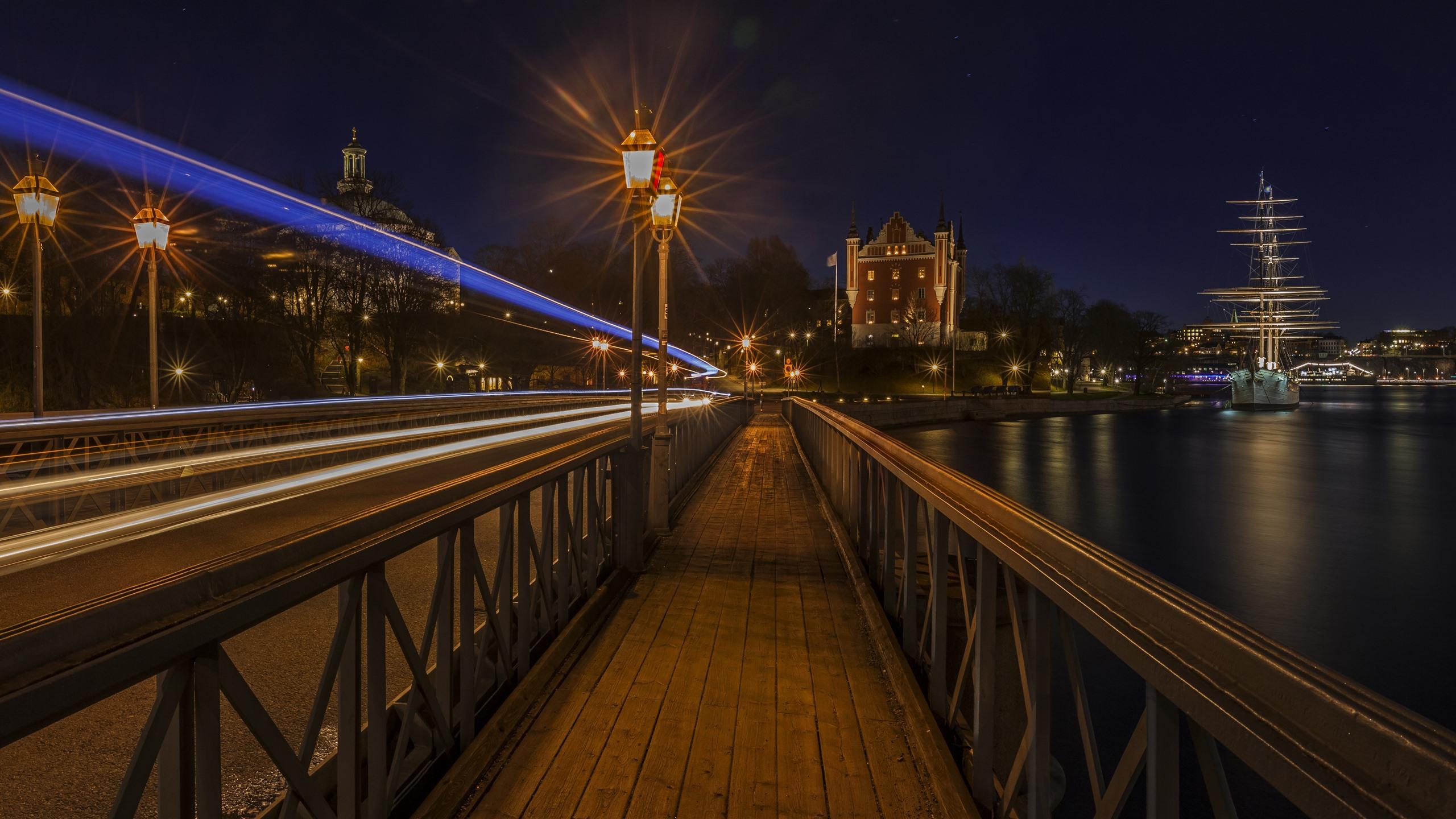 Stockholm Sweden Night City Lights River Bridge
