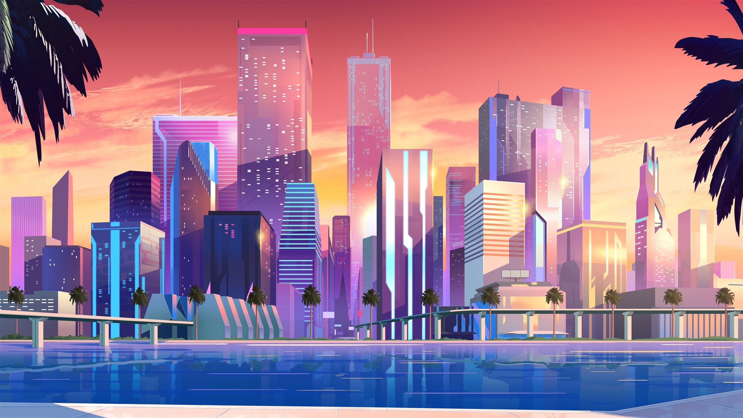 Wallpaper City Skyscrapers Vector Picture 7680x4320 Uhd 8k