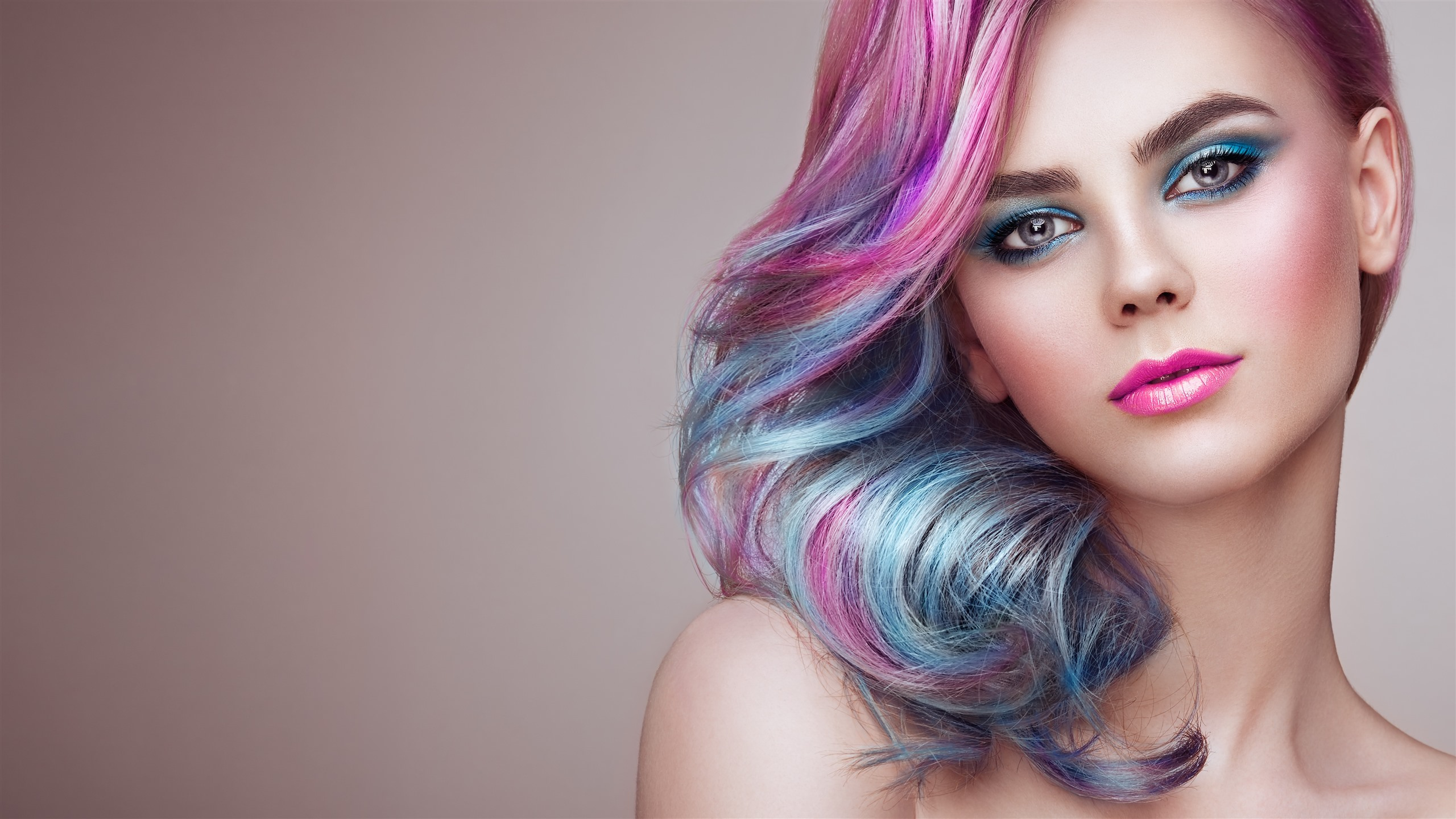 Beautiful Fashion Girl Hairstyle Pink Hairs Face Makeup 1242x2688 Iphone 11 Pro Xs Max Wallpaper Background Picture Image