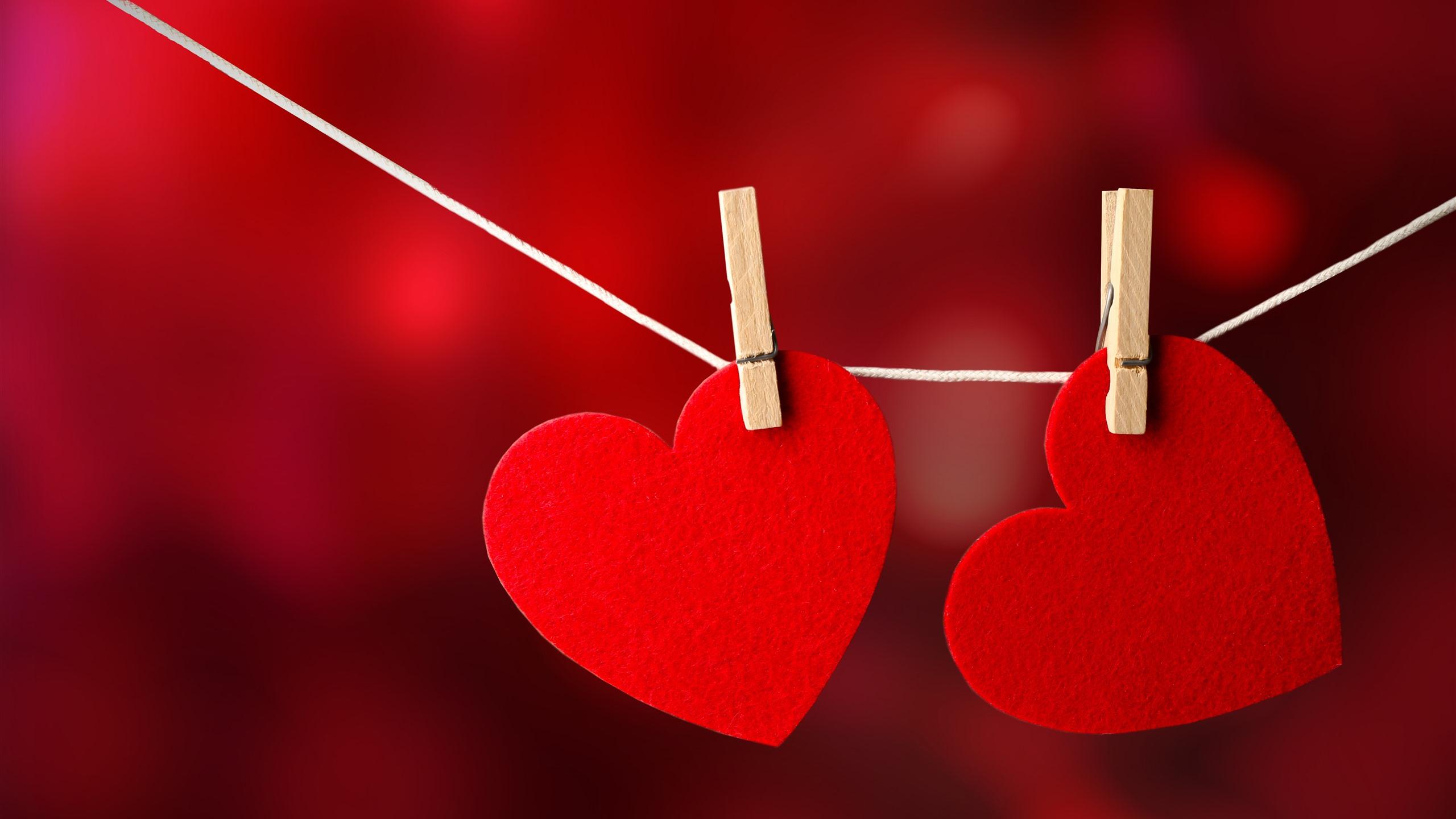 Fonds Décran Deux Coeurs Damour Rouges Pinces à Linge