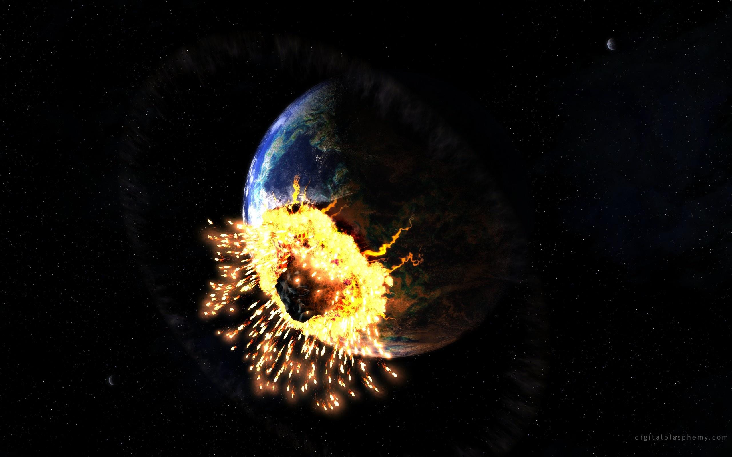 壁纸 小行星猛烈撞击地球 2560x1600 HD 高清壁纸, 图片, 照片