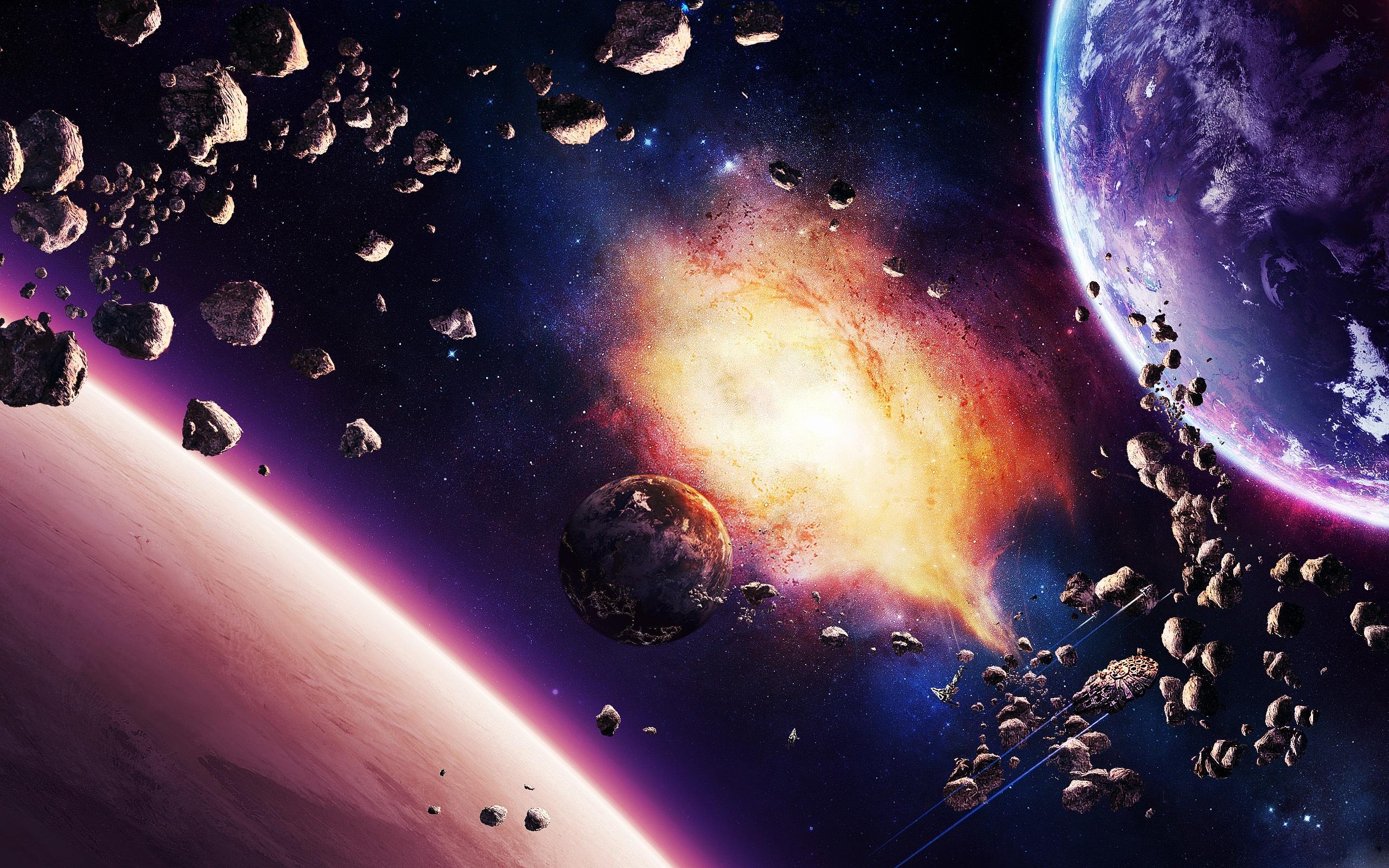 Nébuleuse planète astéroïdes et vaisseau spatial Fonds d ...