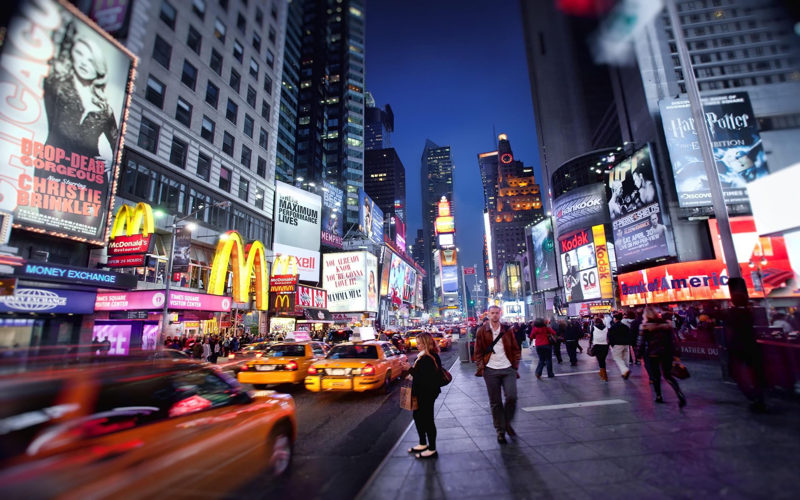 New york night wallpaper 2560x1600 resolution wallpaper for Photo ecran times square