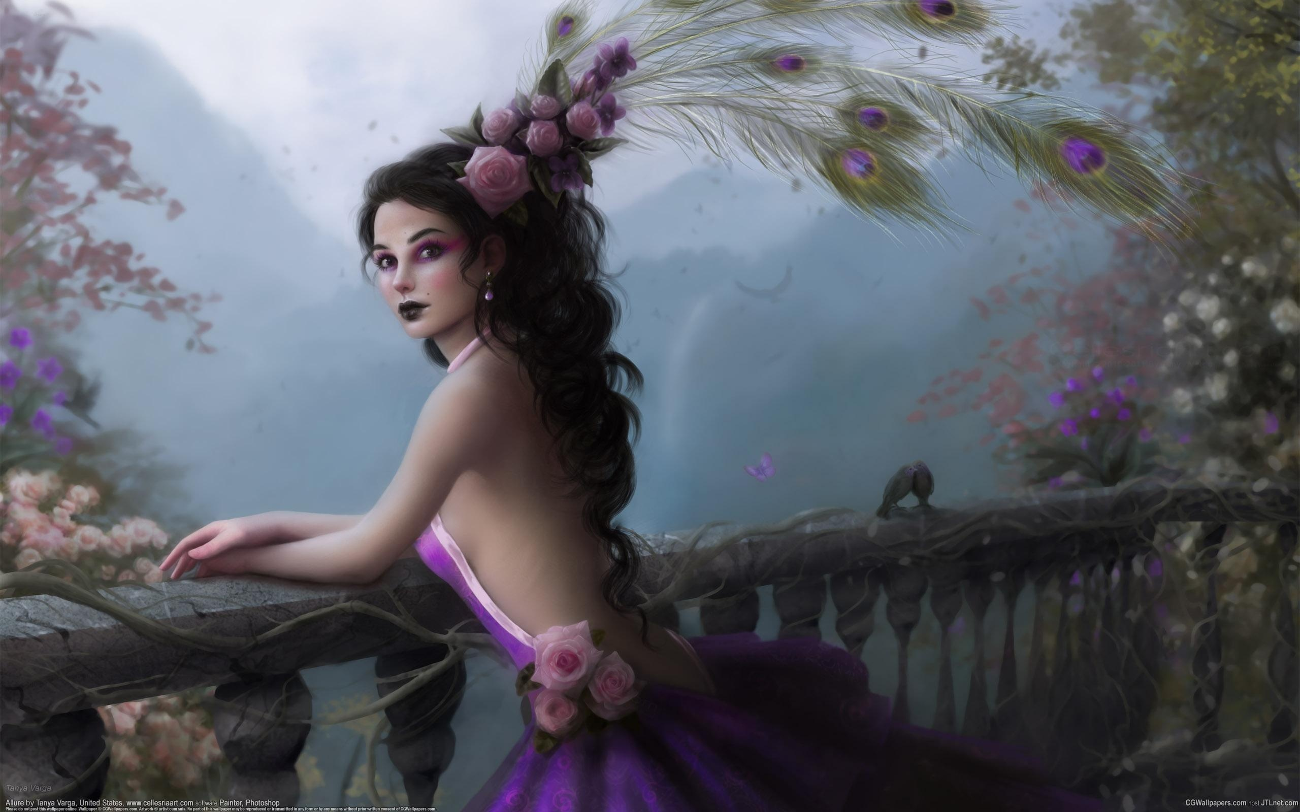 wallpaper fantasy girl peacock feathers 2560x1600 hd picture, image