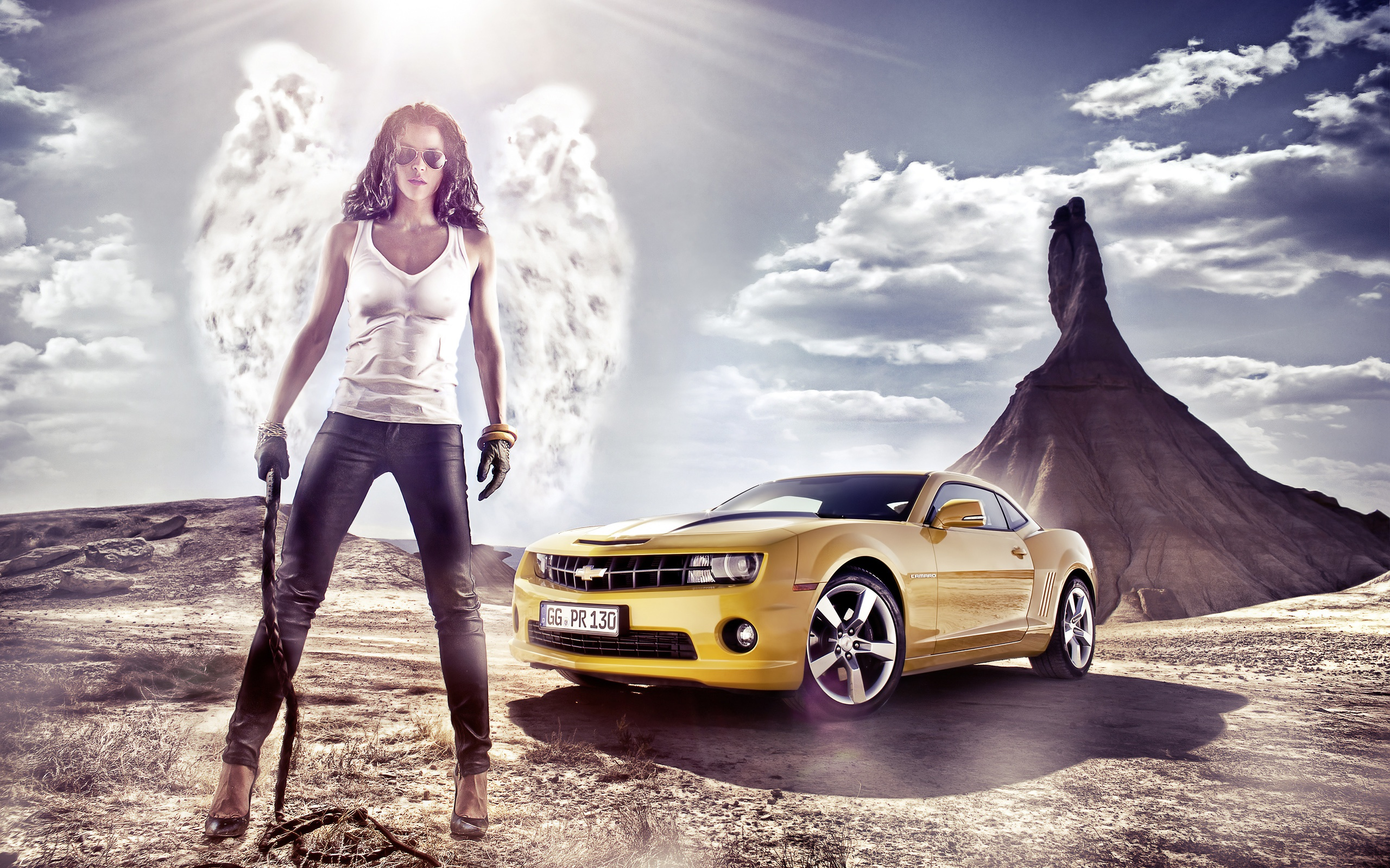 Wallpaper Girl With Chevrolet Car 2560x1600 HD Picture Image