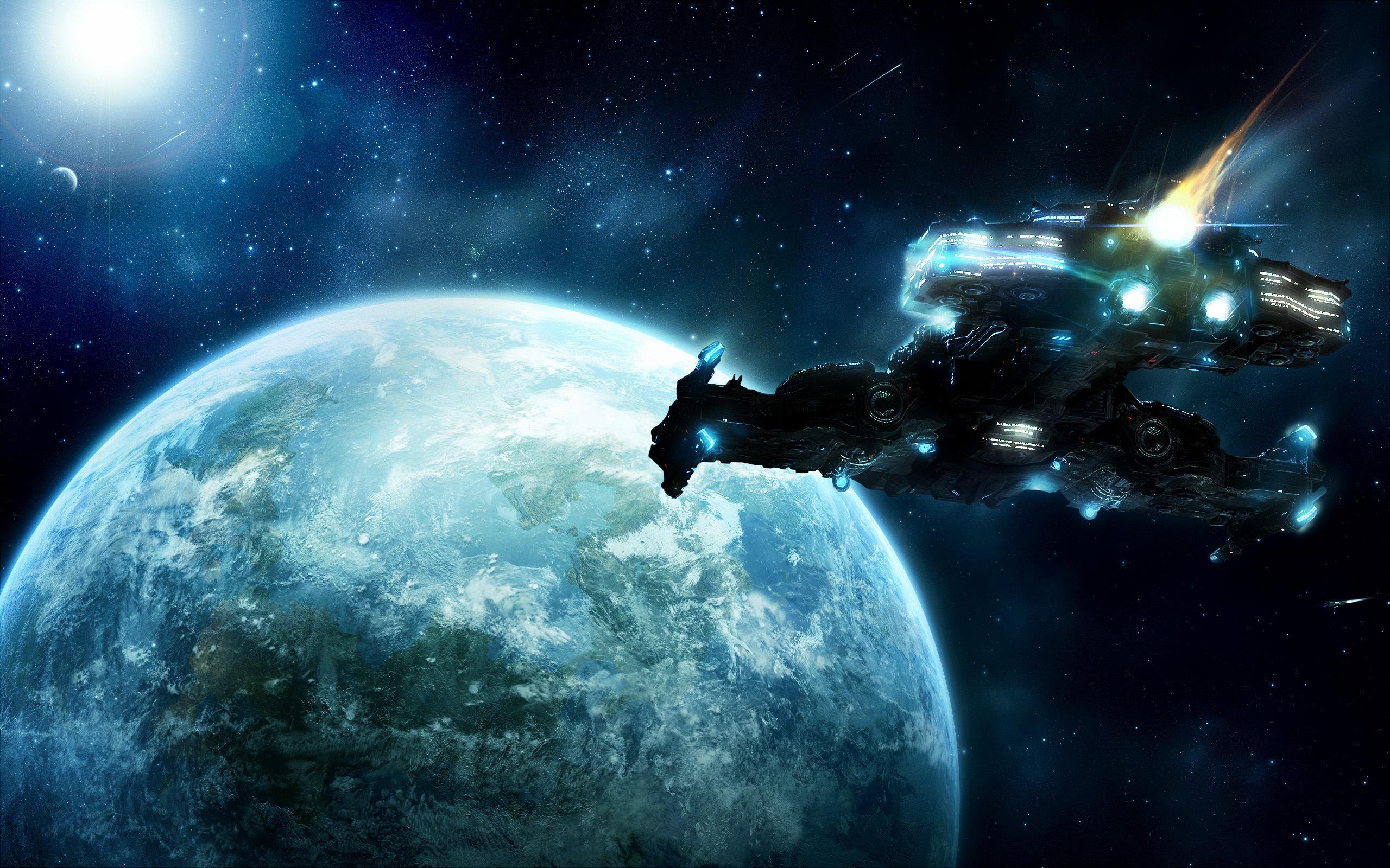 壁紙 地球に飛んでいる宇宙船 2560x1600 Hd 無料のデスクトップの背景 画像